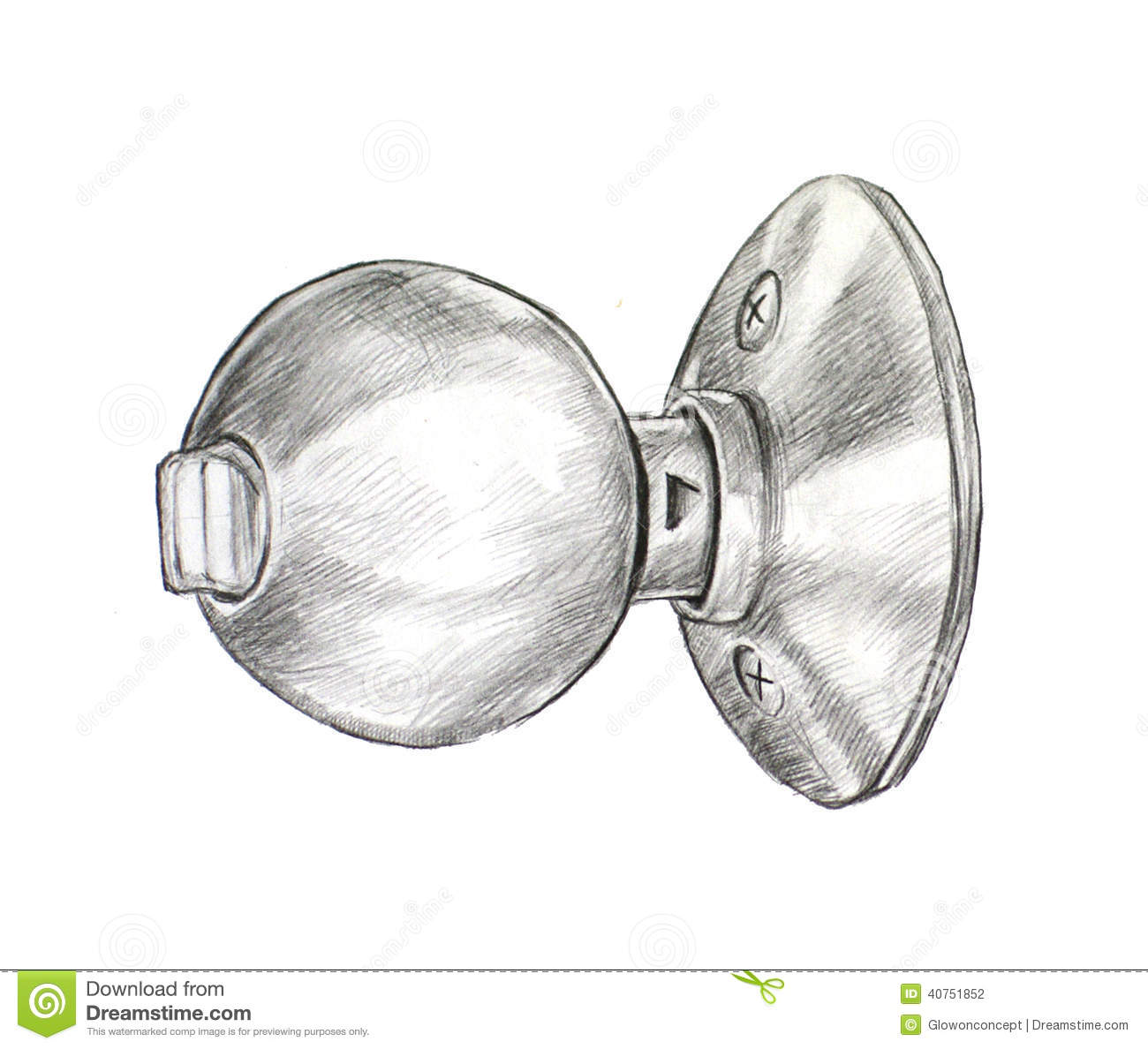 Door knob drawing Stock Photography