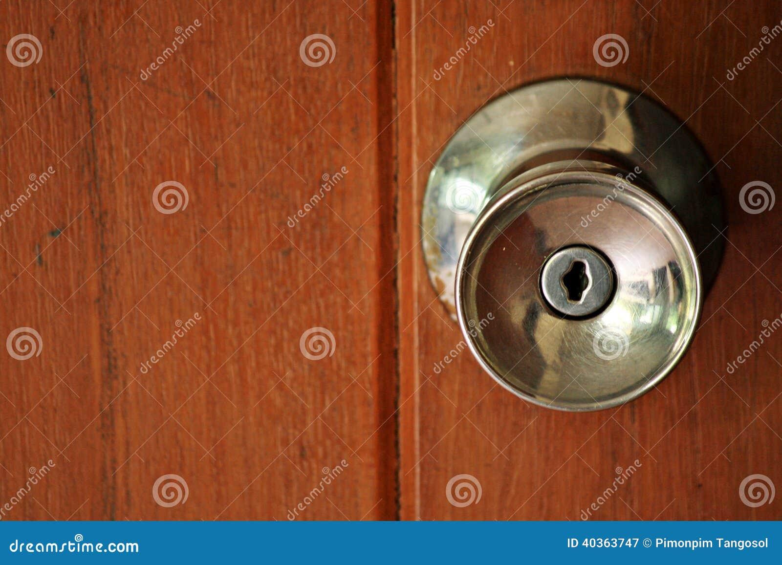 Door Knob On Wooden Door Stock Photo - Image: 40363747