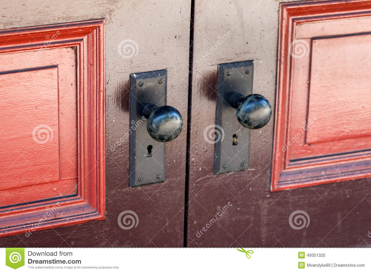 Door knobs with old fashioned key lock stock photo image - Old fashioned interior door locks ...