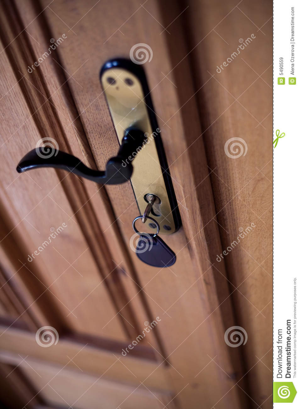 Door Lock With Key In It Stock Image Image Of House