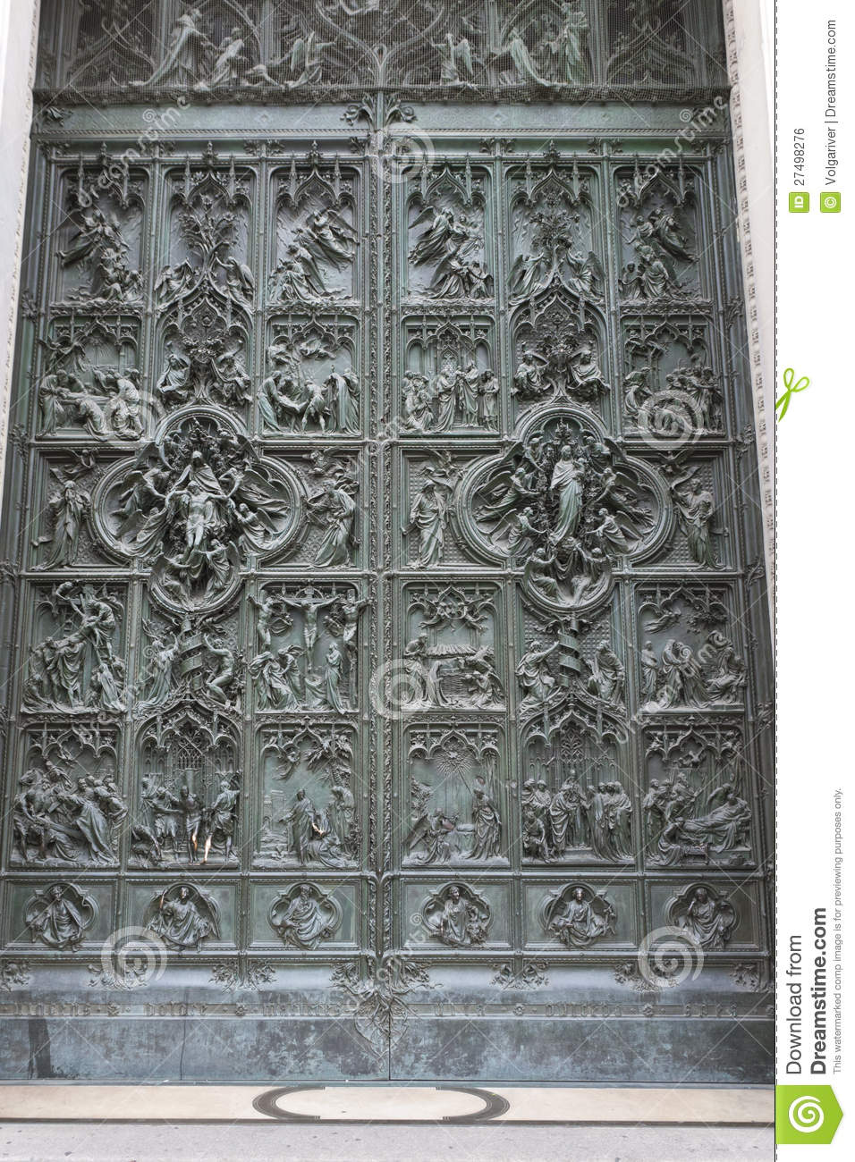 door of milan cathedral  italy royalty free stock image