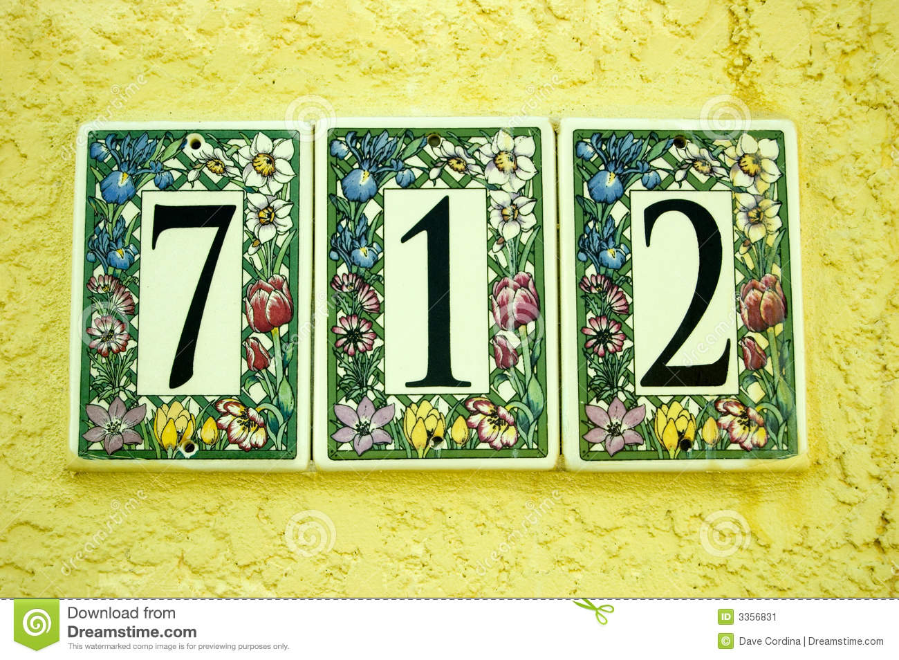 Door Number Tiles 712 Stock Image Image 3356831