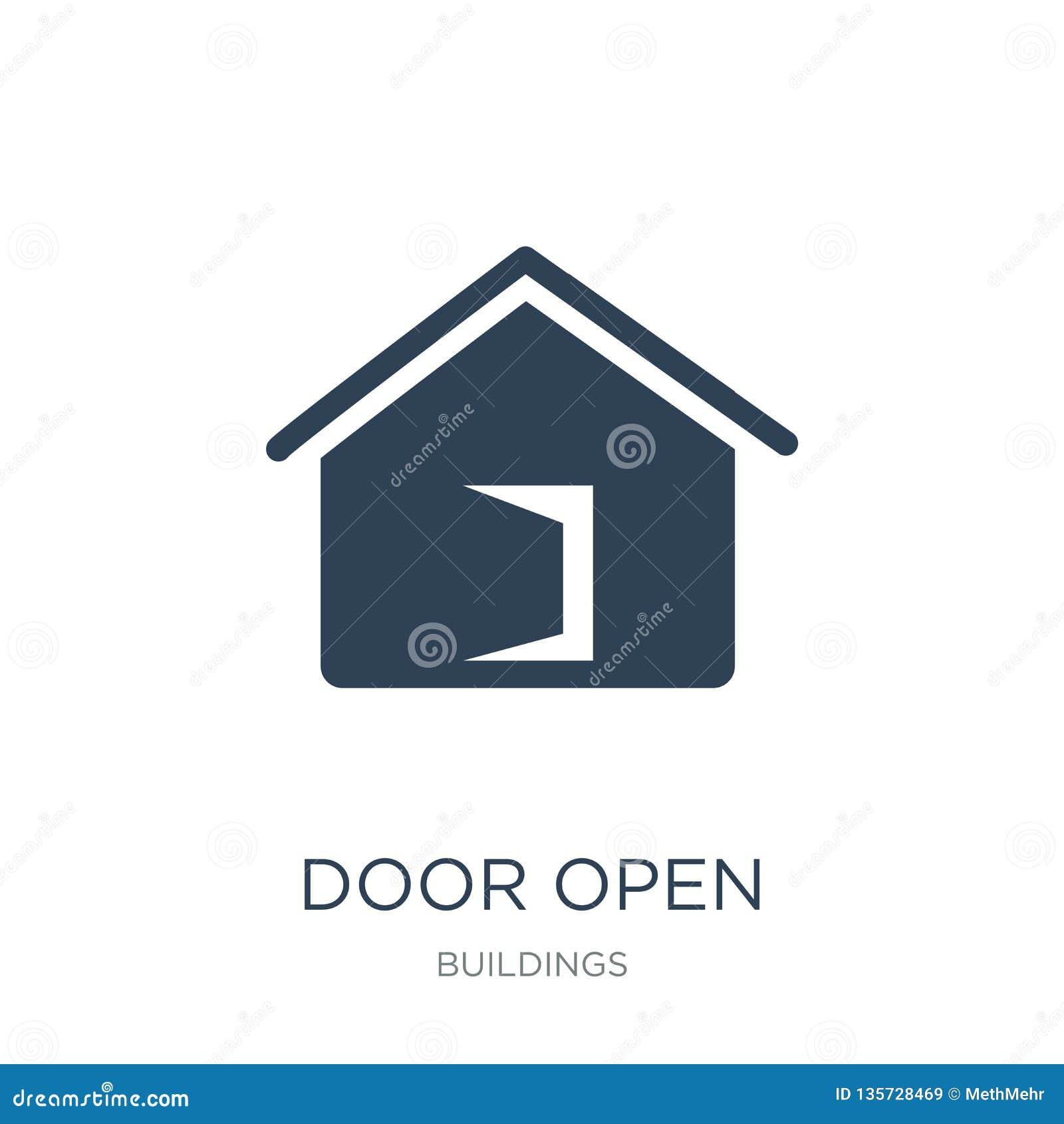 Door Open Icon In Trendy Design Style. Door Open Icon
