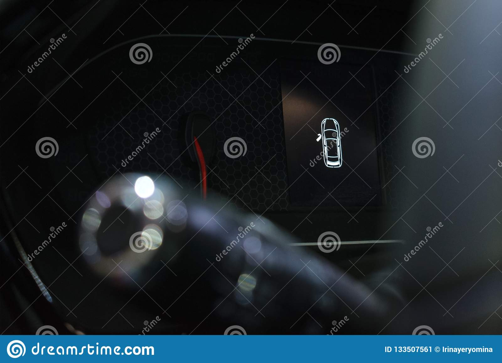 Door Open Warning Light On Car Dashboard Stock Image - Image of