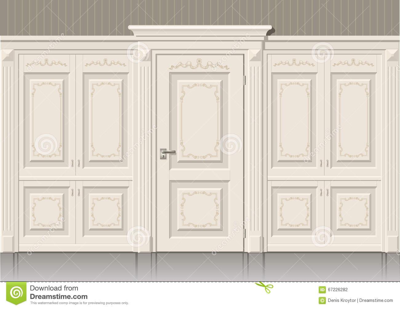 The Door Panels And Classic Stock Illustration Image