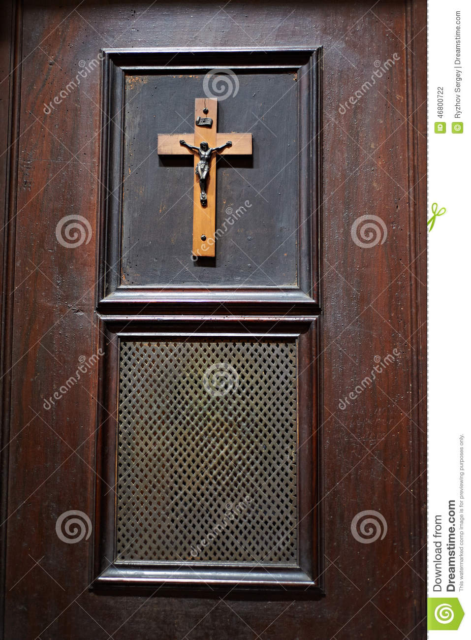 Door Of Room In Church For Confession Stock Photo Image
