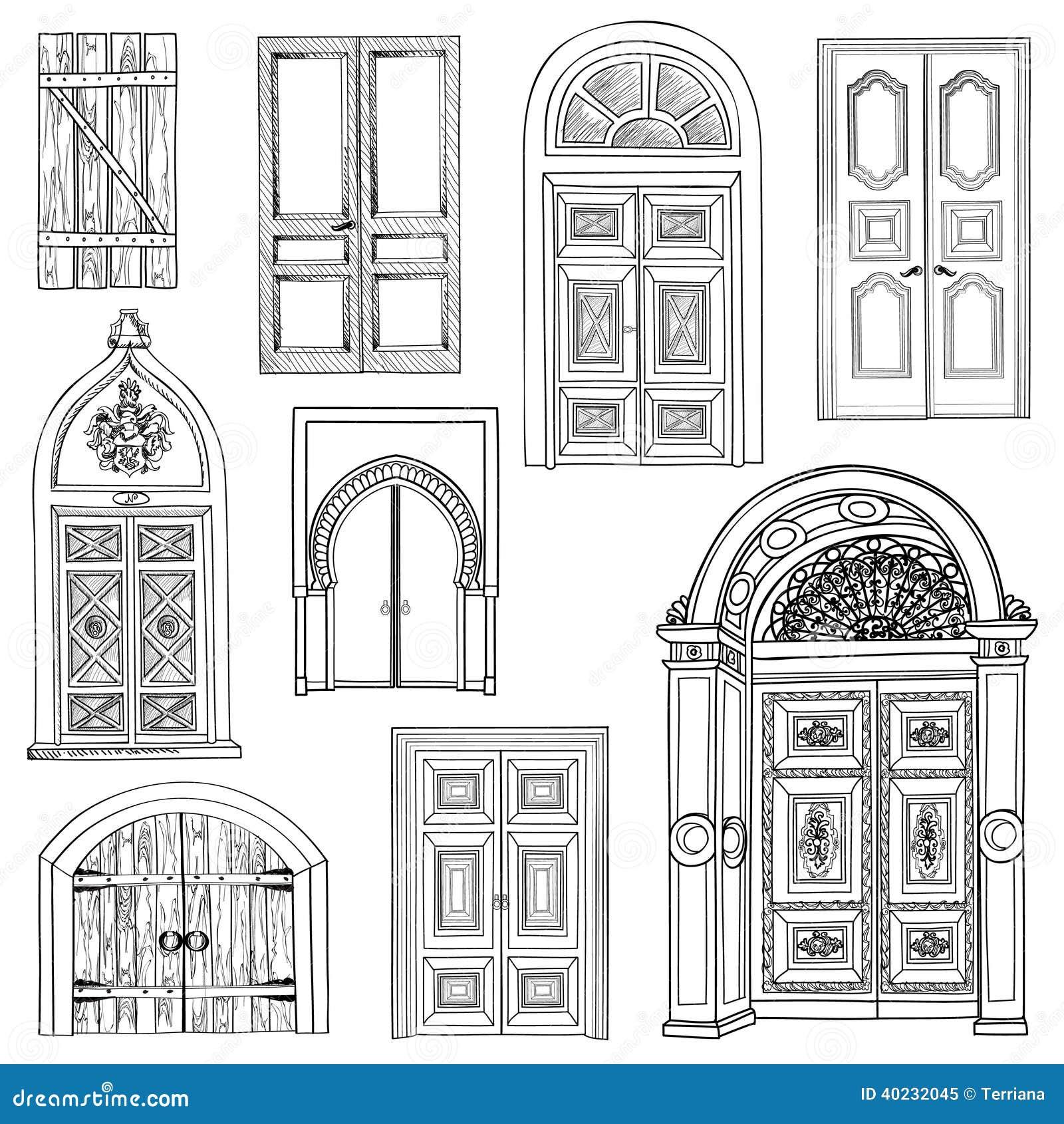 Door set stock vector....