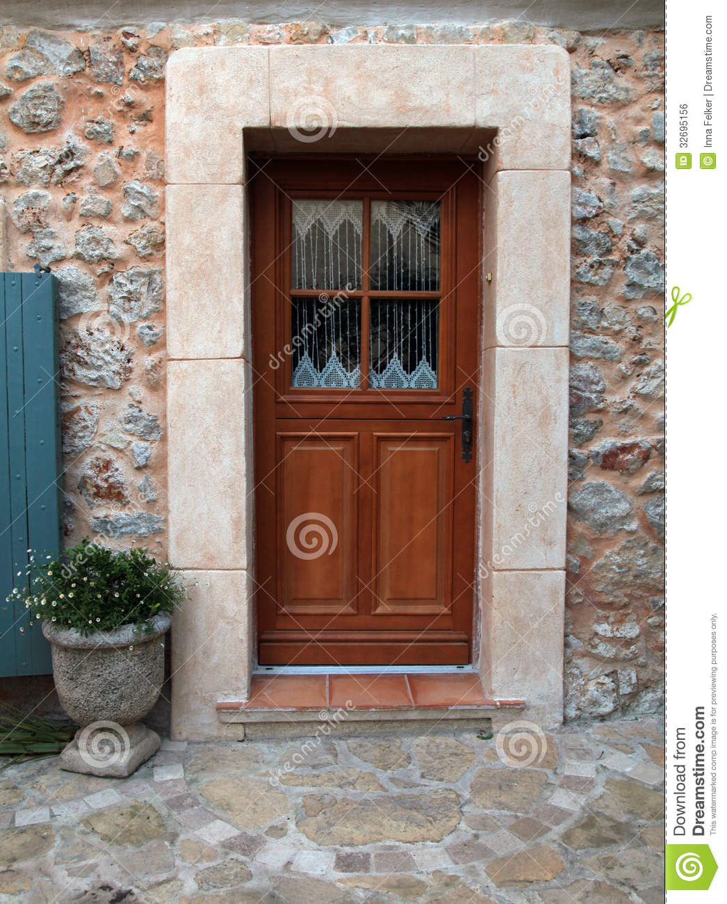 Door Of Stone Wall House Provence France Stock Photo