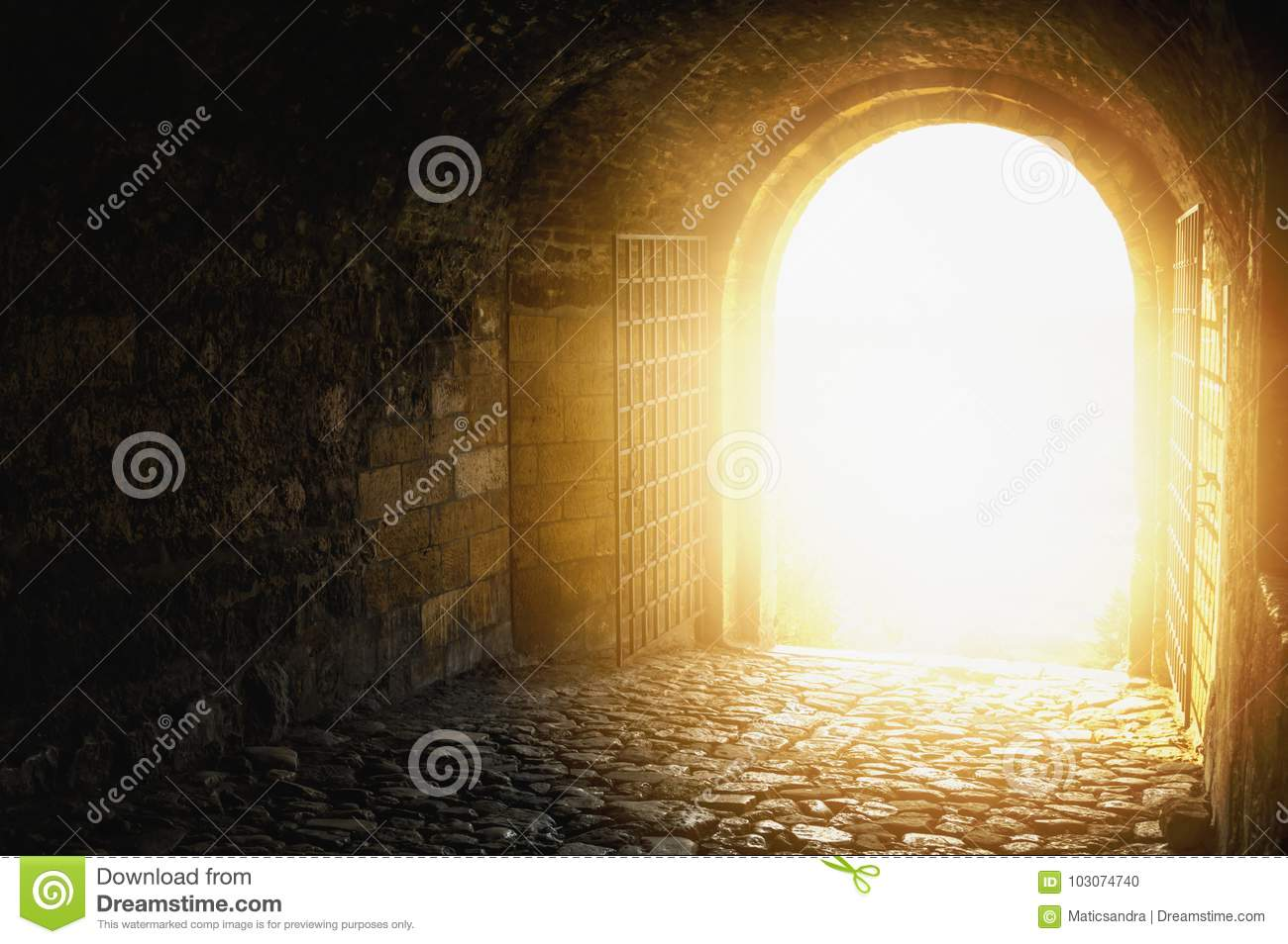 Door to Heaven. Arched passage open to heaven`s sky.Light at end of the tunnel. Light at end of the tunnel.