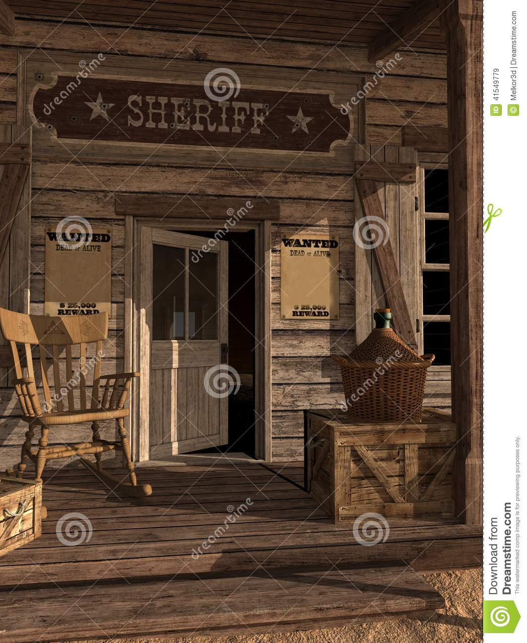 Door To Sheriff's Office Stock Illustration - Image: 41549779