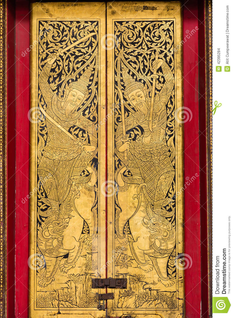 Door at wat Benchamabophit temple, bangkok in Thailand