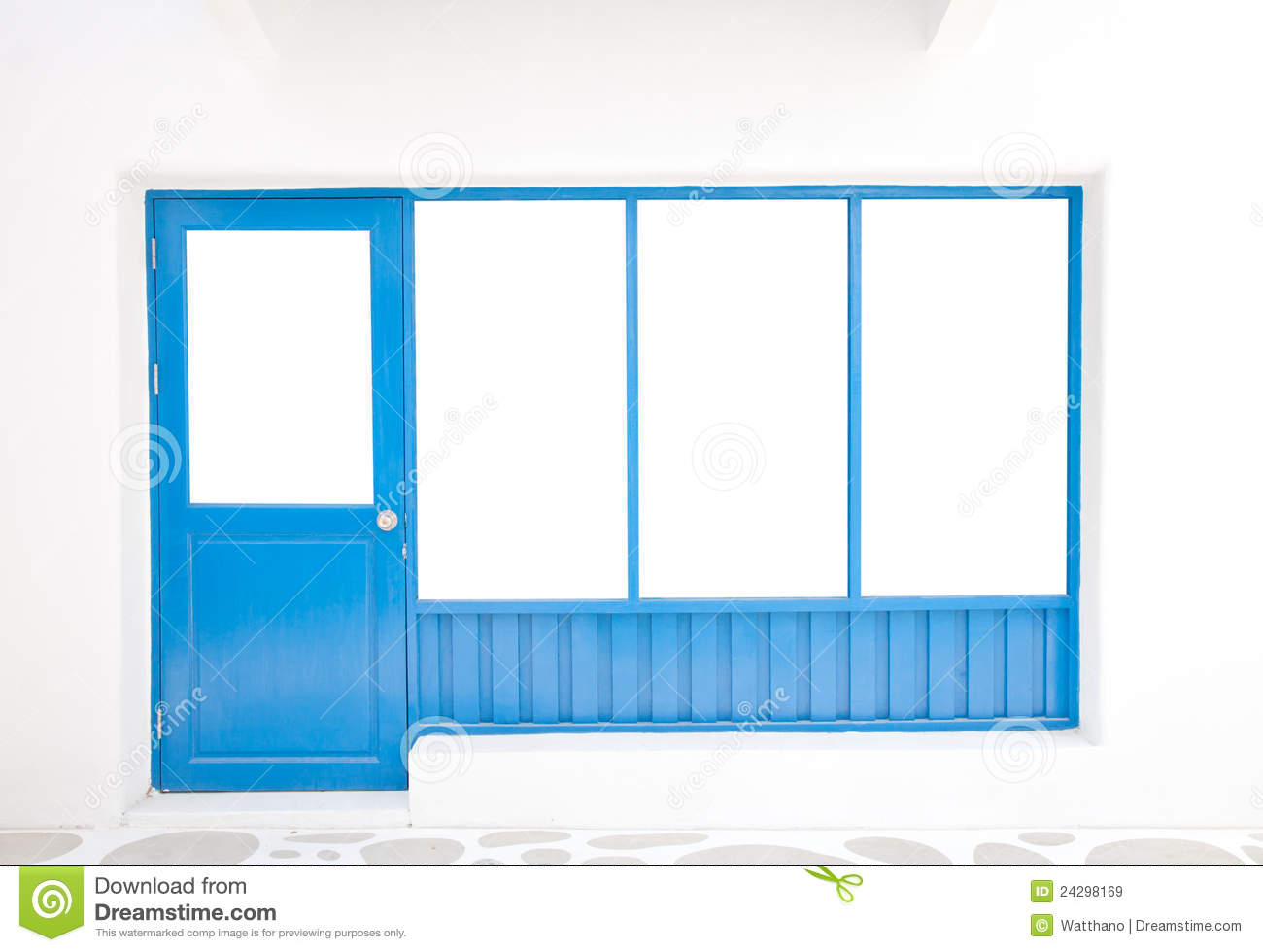 Door And Window Frame In Greek Style On White Back Stock Image ...