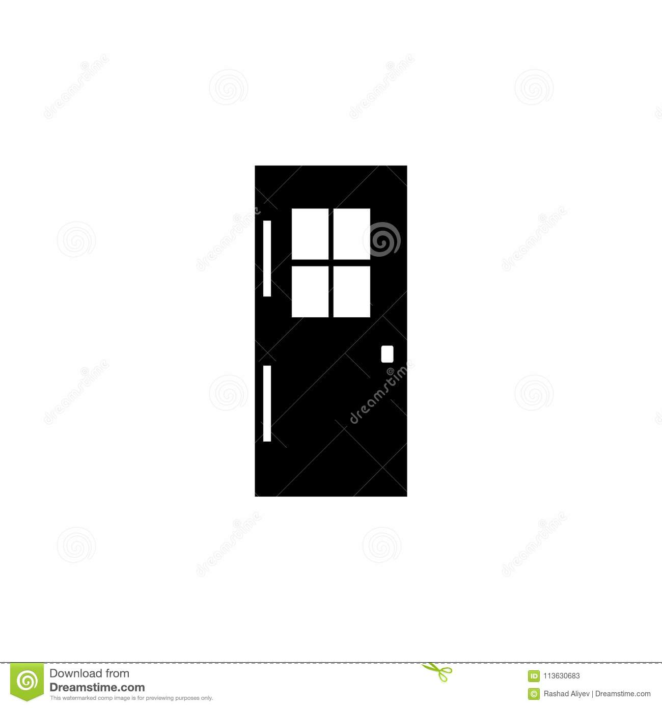 Door With Window Icon  Element Of Door Elements Illustration