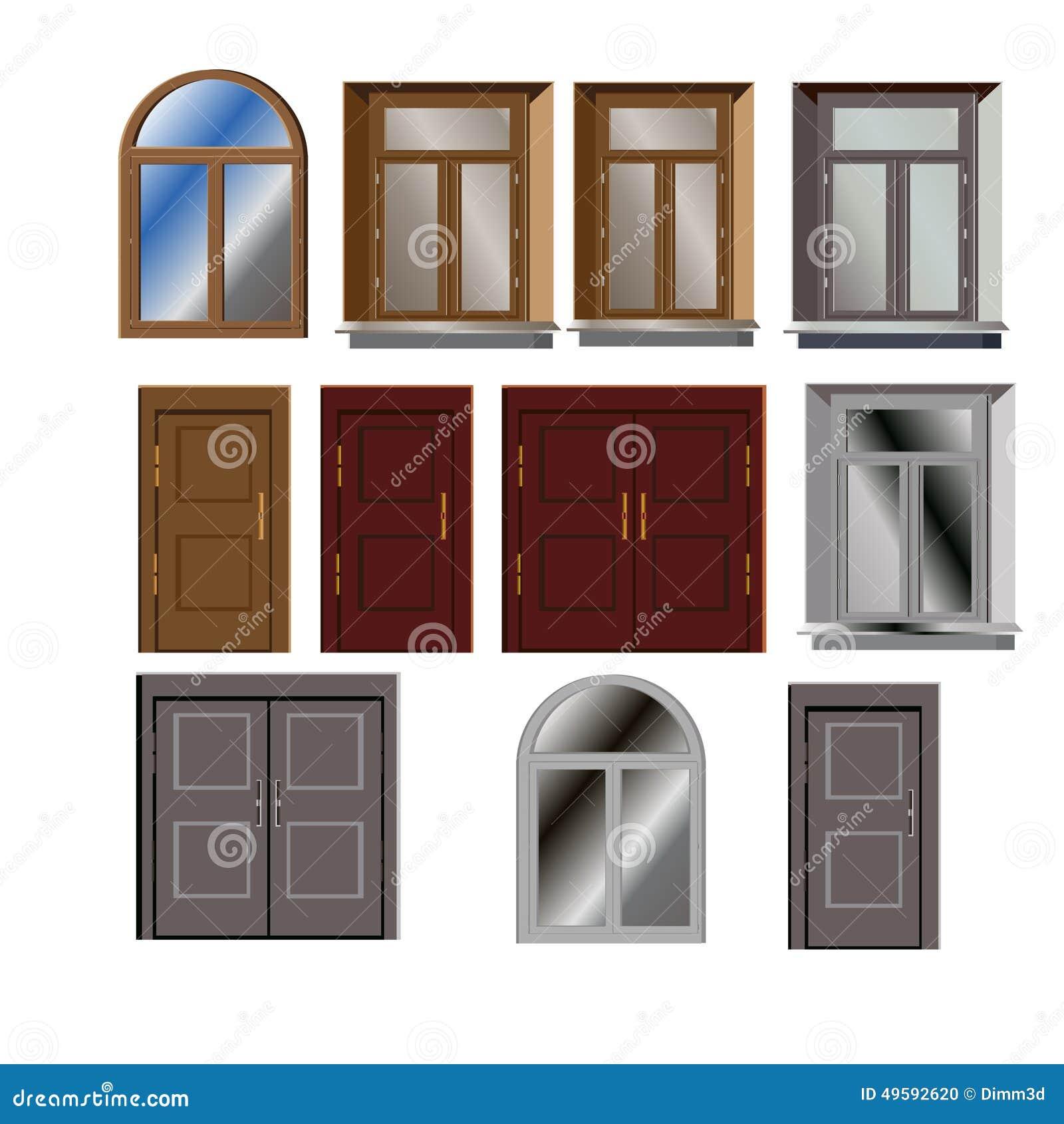 Door And Window Vector Set For Building Exterior