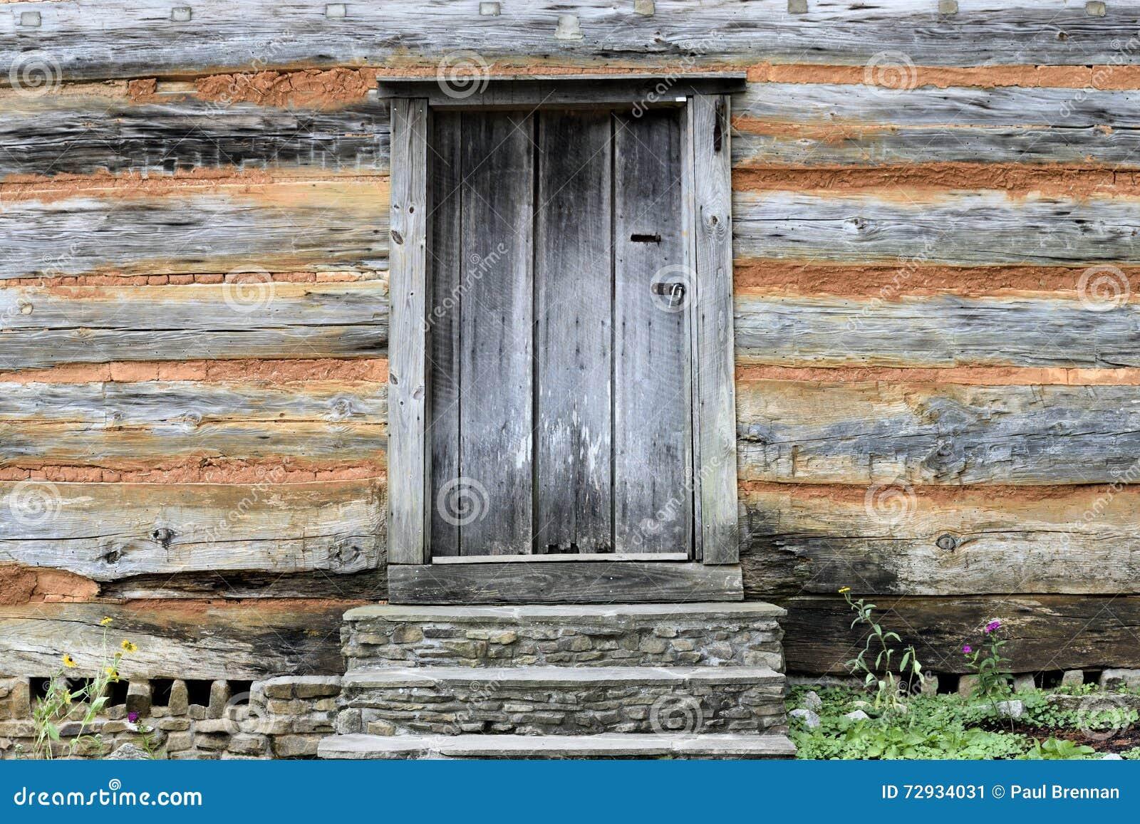 Door in wood and brick log cabin stock image image 72934031 for Brick cabin
