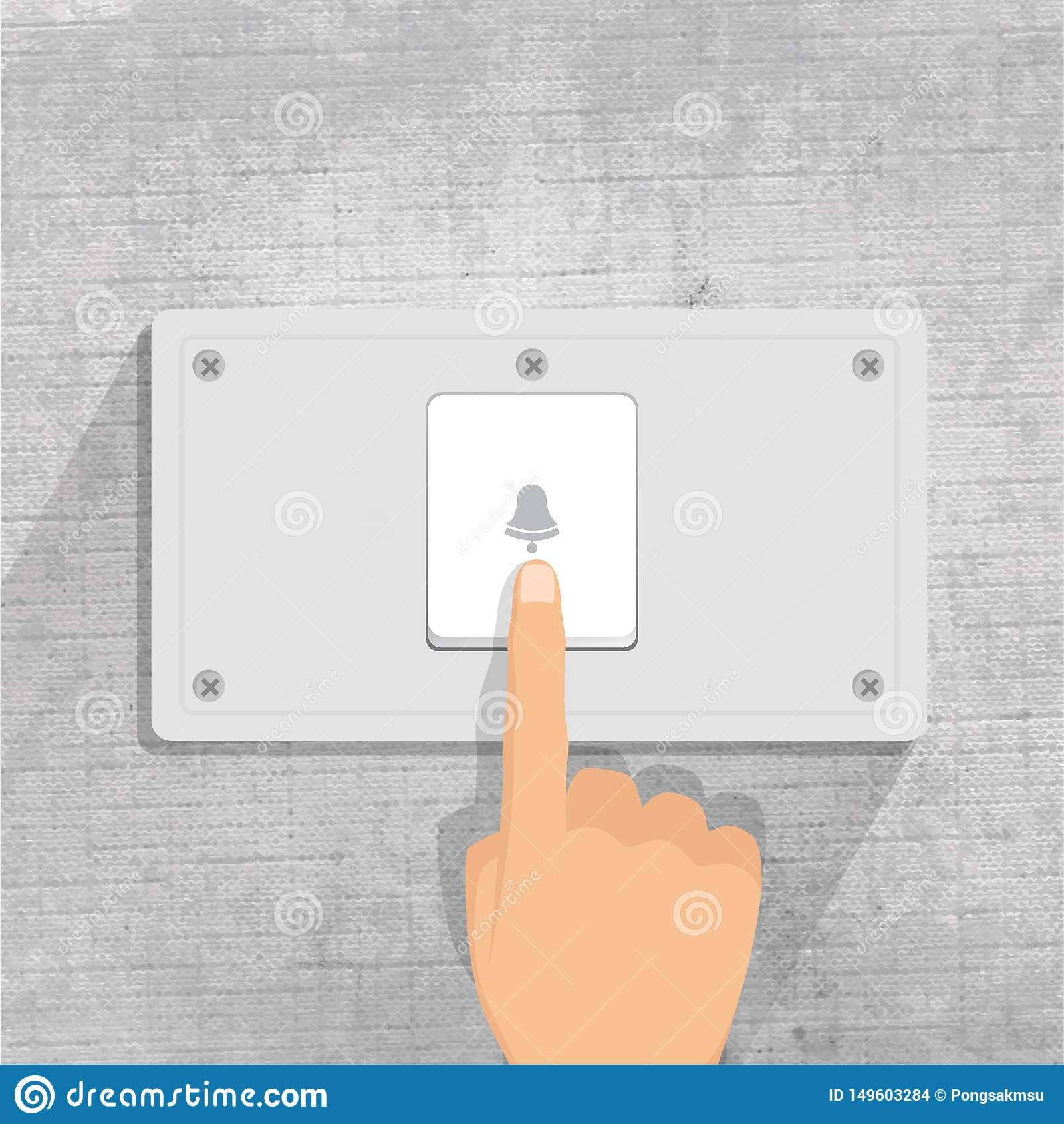 Doorbell dedo que pressiona o botão da campainha no fundo cinzento