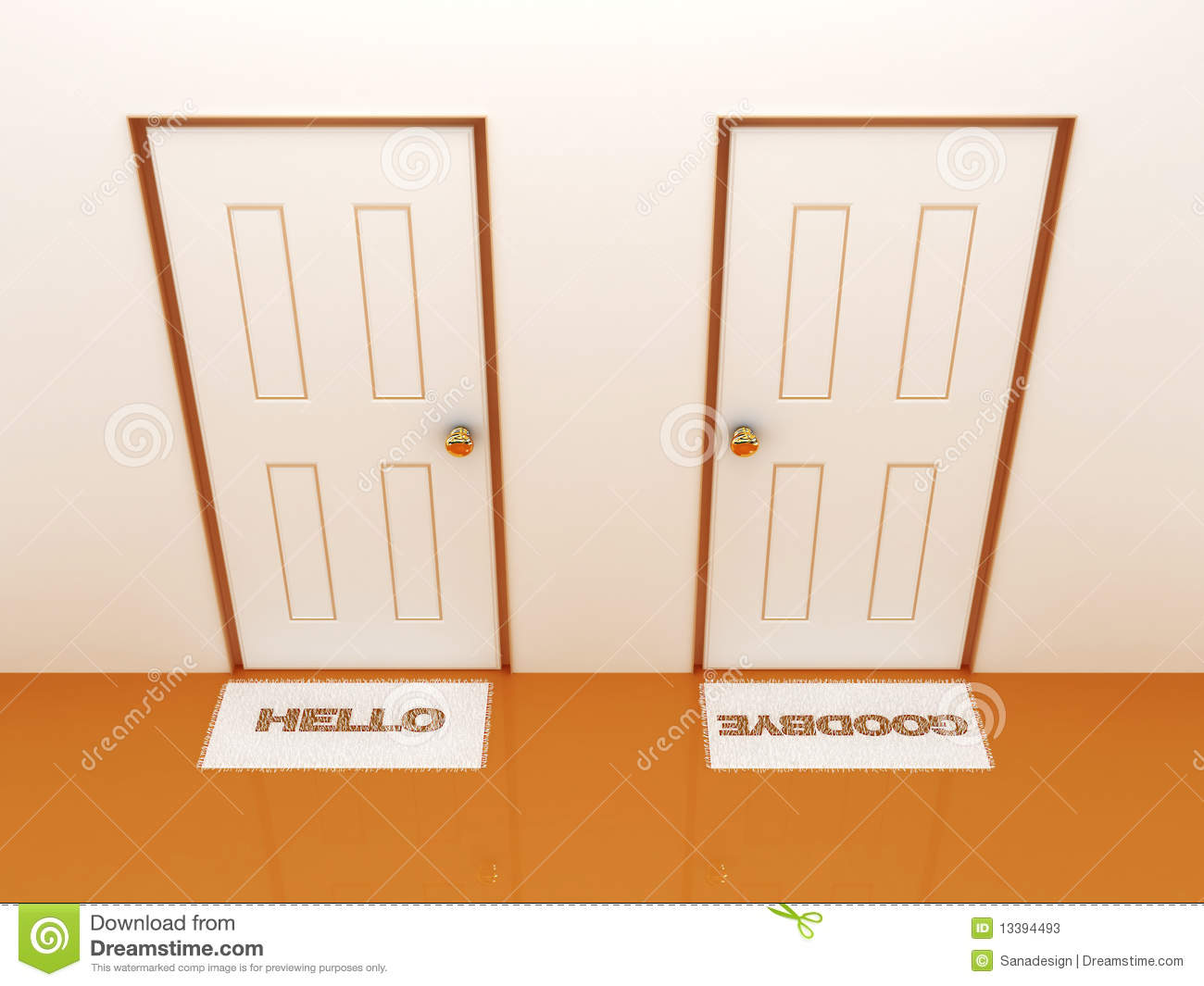 Doors with doormats hello and goodbye  sc 1 st  Dreamstime.com & Doors With Doormats Hello And Goodbye Stock Illustration ...