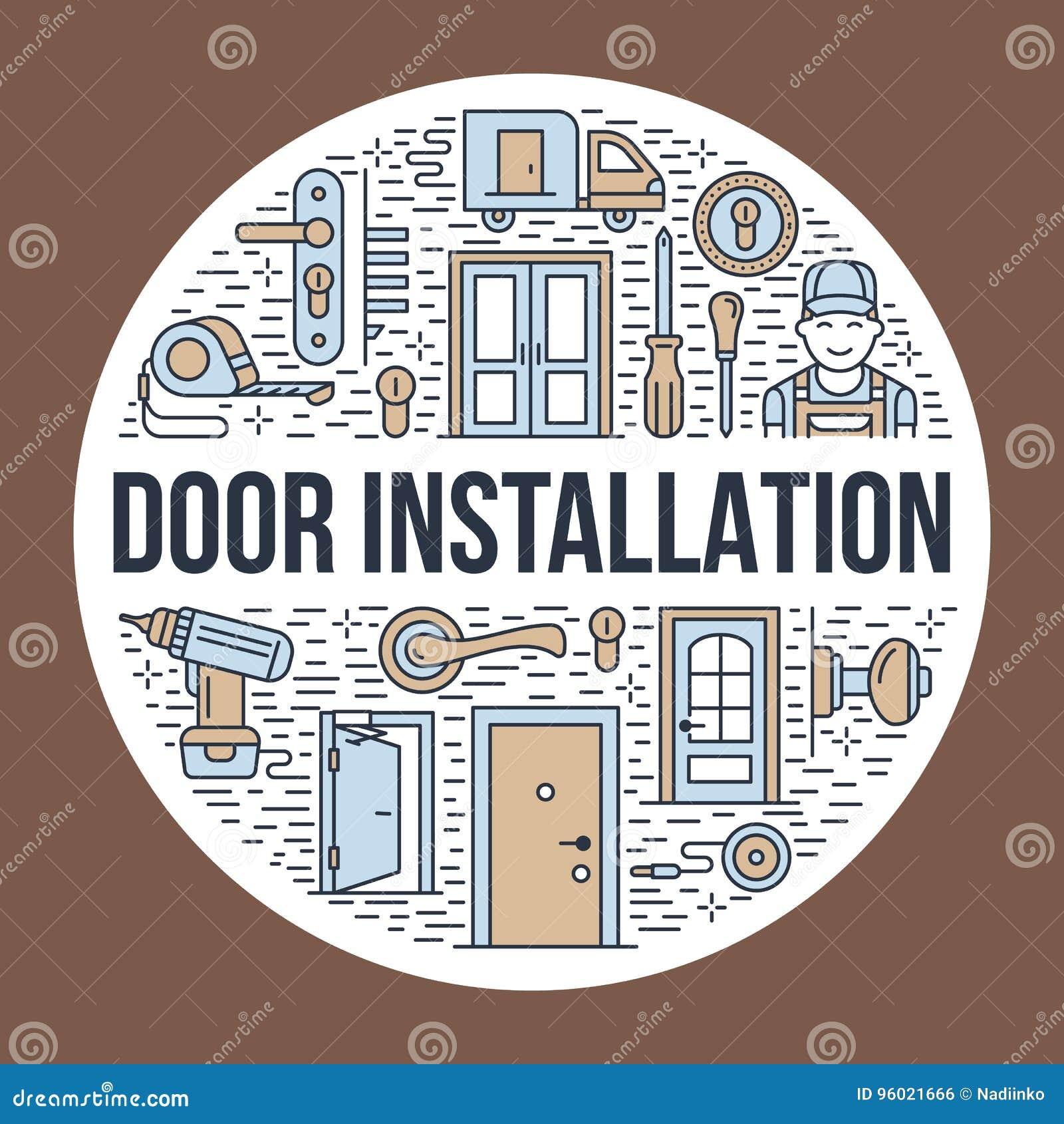 Doors Installation, Repair Banner Illustration. Vector Line Icons Of ...