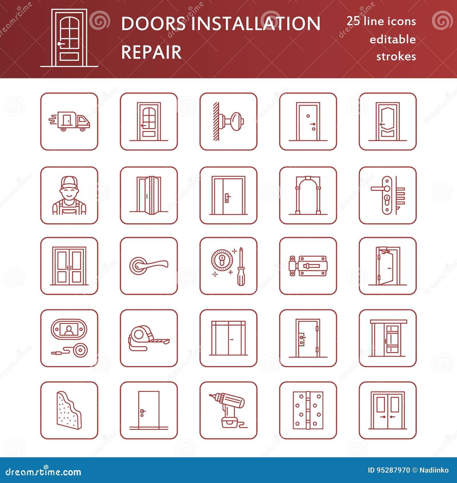 Doors Installation Repair Line Icons Various Door Types Handle