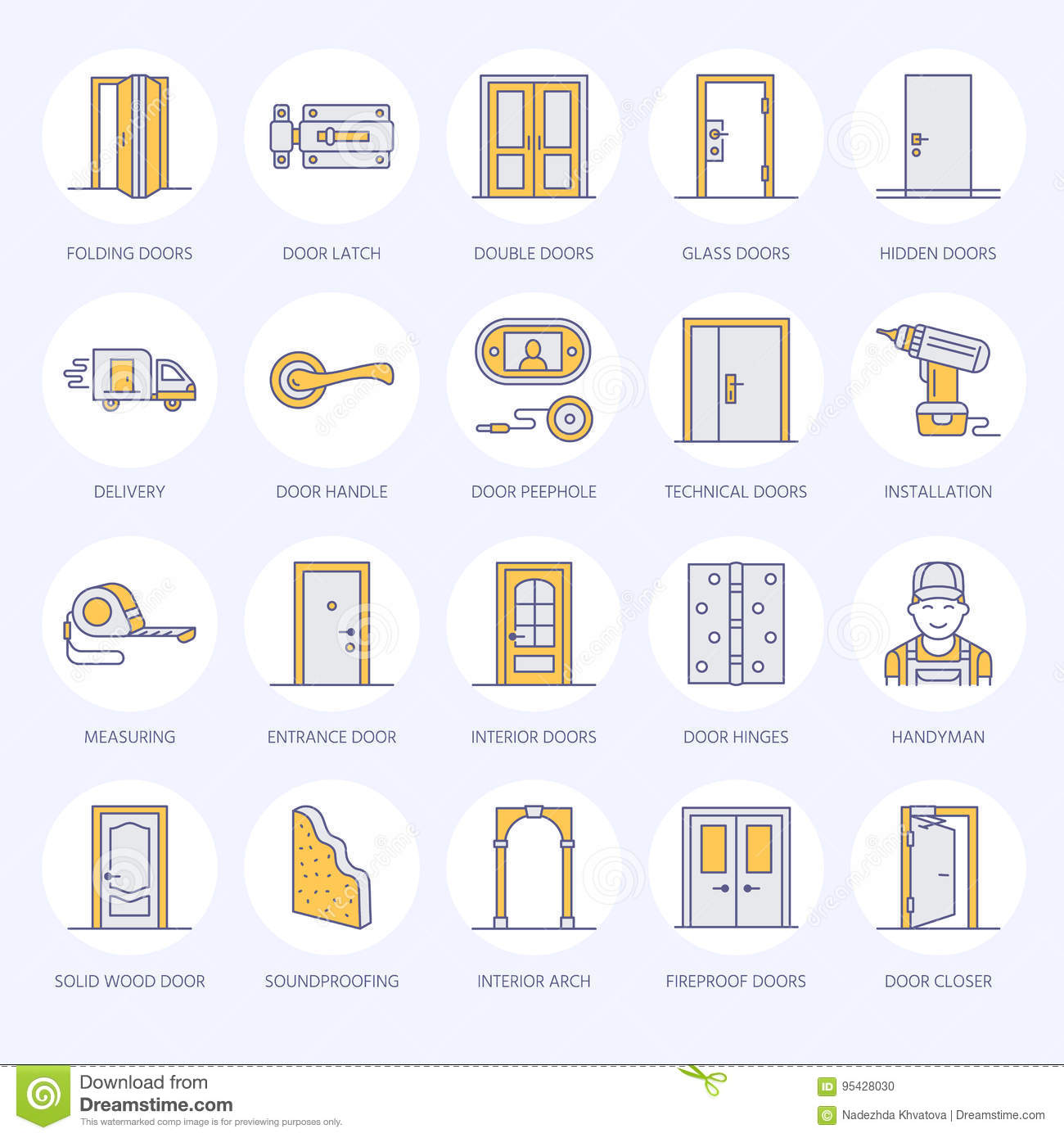Doors Installation Repair Line Icons Various Door Types
