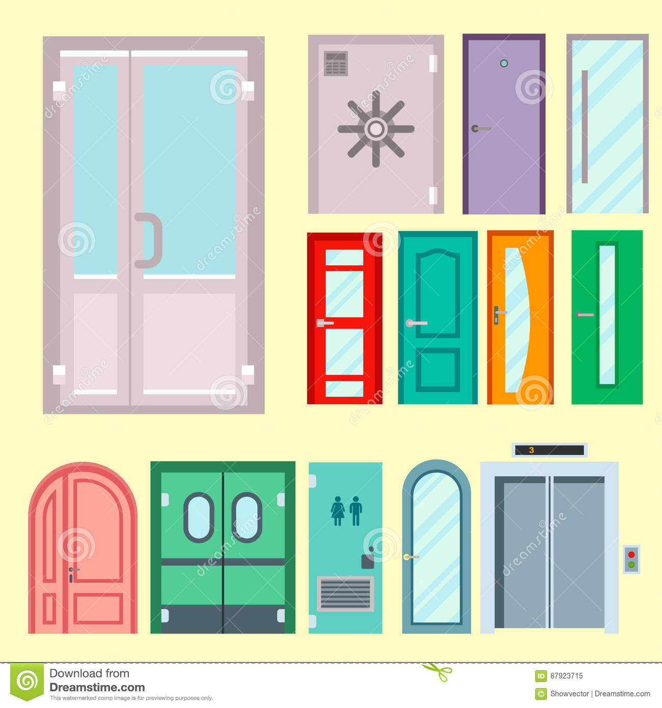 Doors Isolated Vector Illustration Entrance Doorway Home
