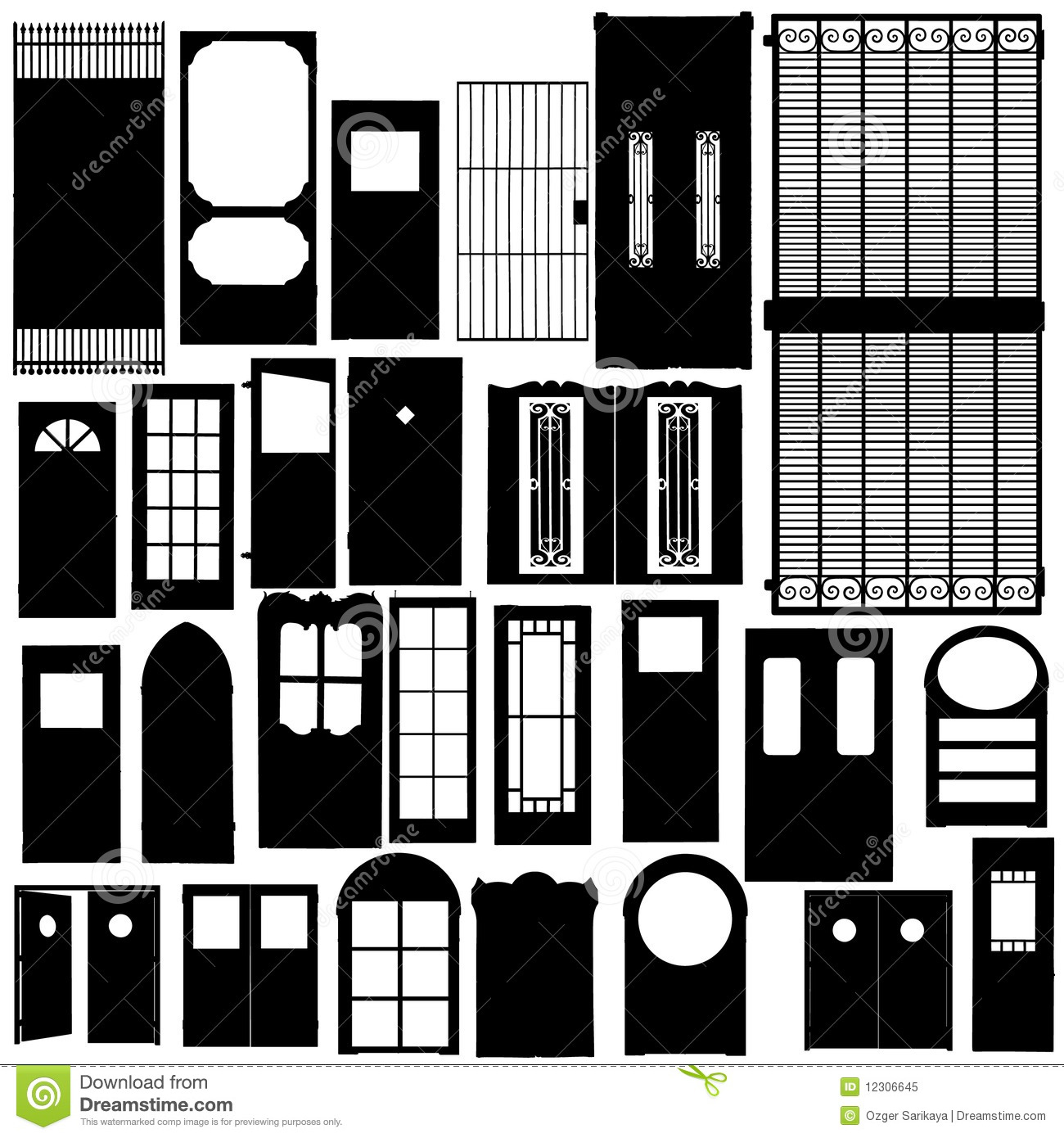 Kitchen Window Clip Art: Doors Silhouette Set Stock Vector. Illustration Of Style