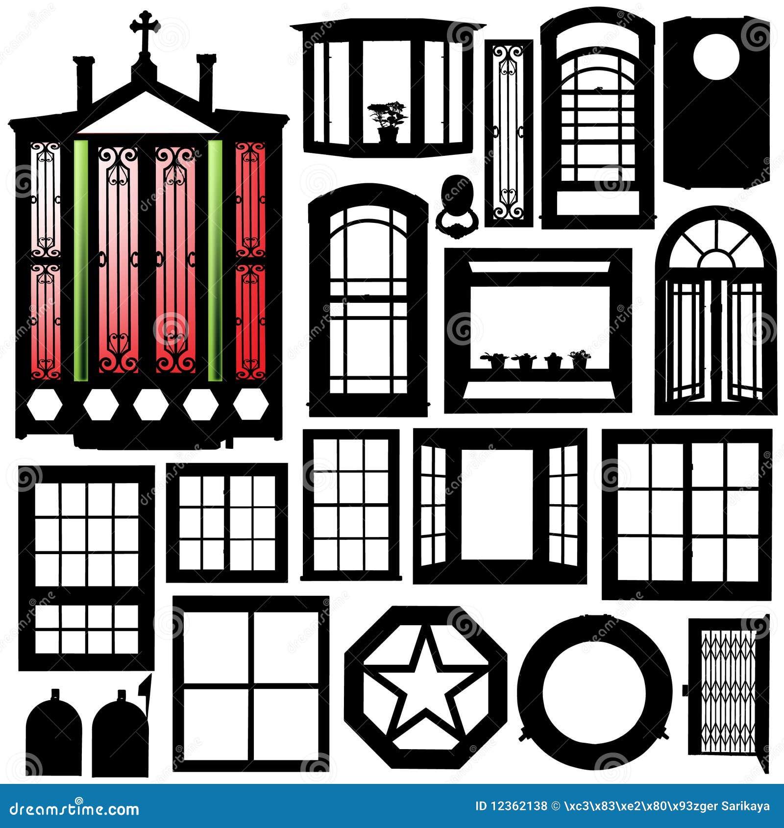 Doors Windows Silhouette Set Royalty Free Stock Photos