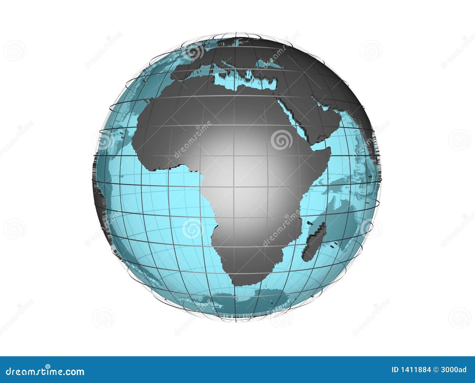 Doorschijnende 3d bol model tonend Afrika
