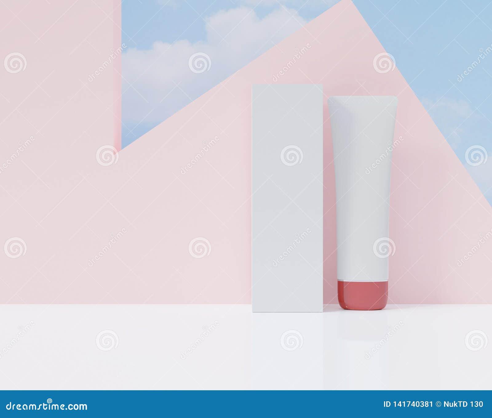 Doos en buis op een witte kleur Kosmetische advertentiesaffiche De spot plaatste omhoog voor reclame, het 3d teruggeven