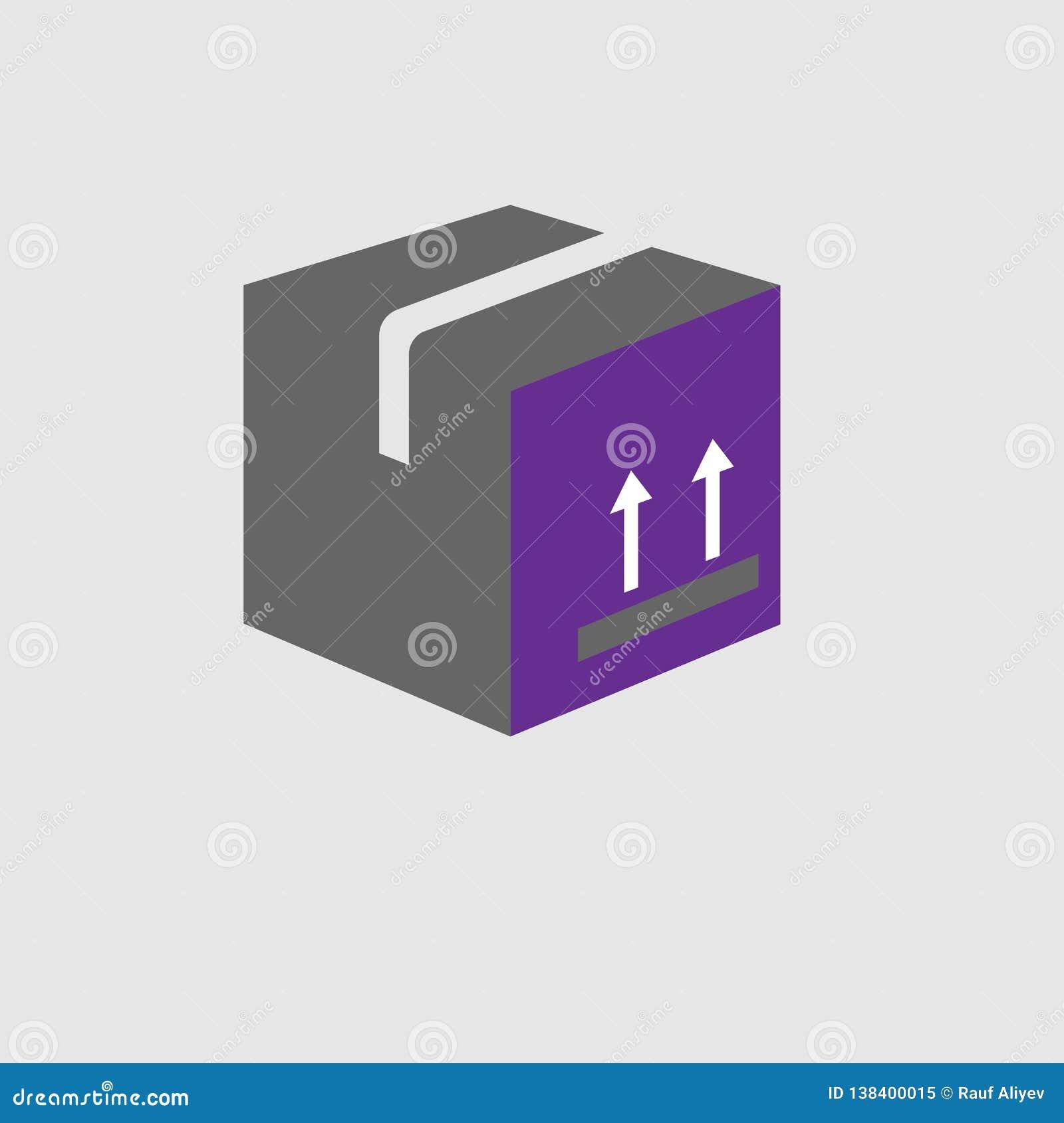 Doos, etiketpictogram Element van Levering en Logistiekpictogram voor mobiele concept en webtoepassingen De gedetailleerde Doos,