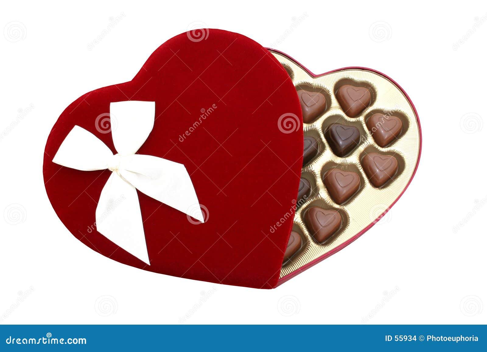 Doos Hart Gevormde Chocolade met het Knippen van Weg (Beeld 8.2mp)
