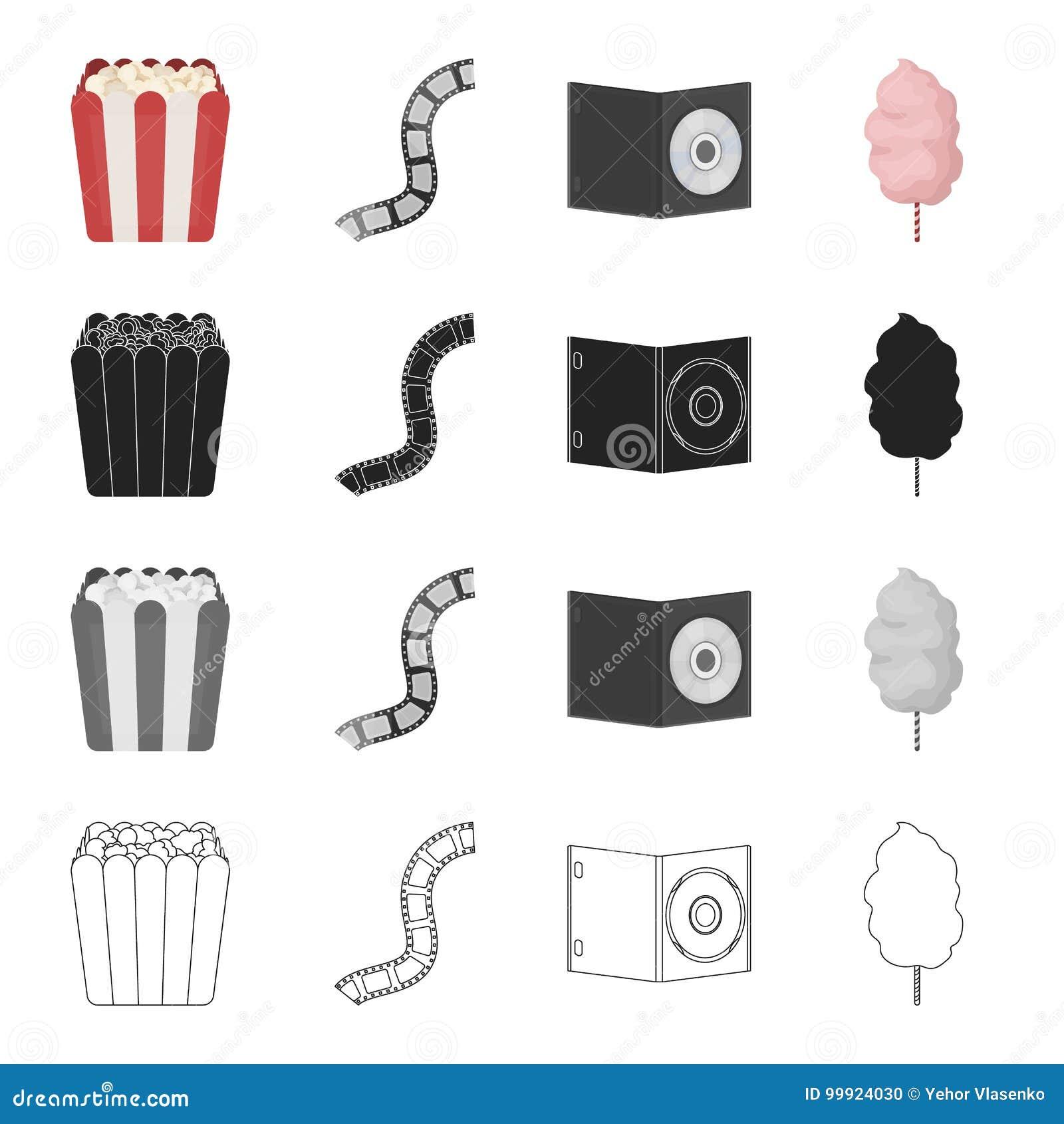 Doos met popcorn, film, CD-schijf, zoet katoen Film en bioskoop vastgestelde inzamelingspictogrammen in beeldverhaal zwart zwart-