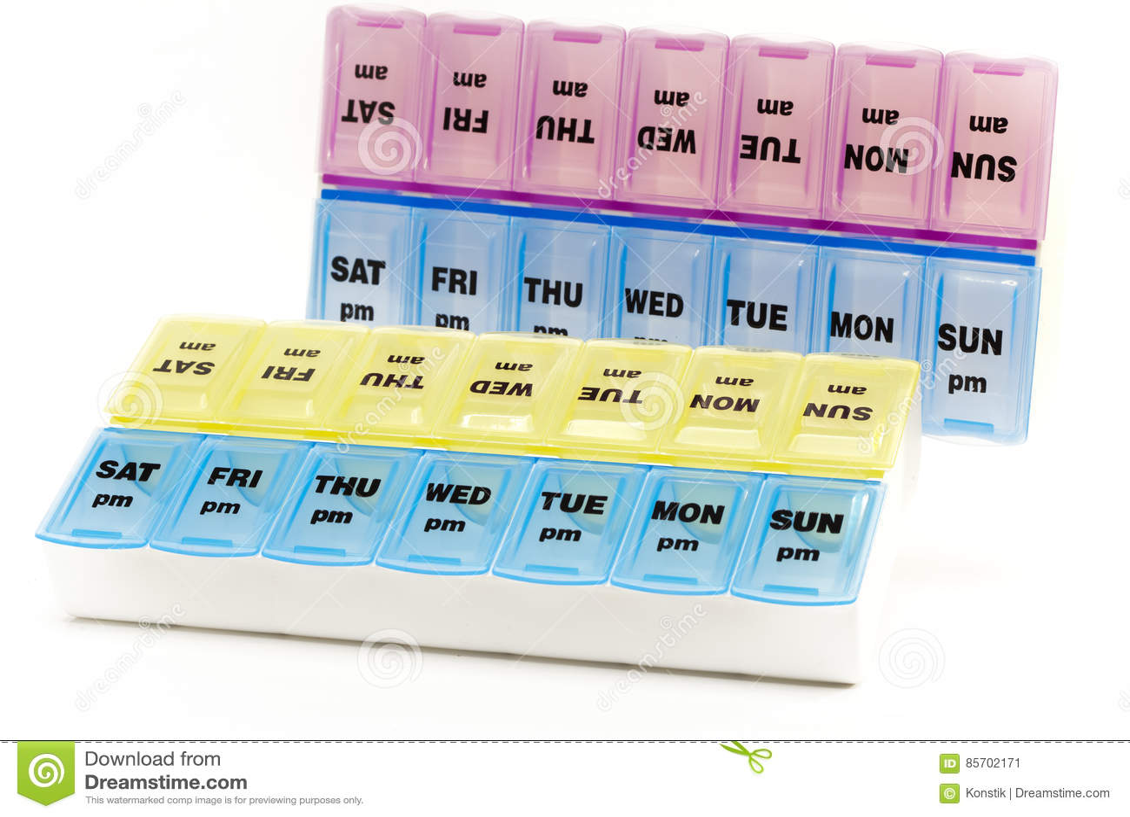 Doos voor opslag van drugs, met inschrijvingen op dagen van de week