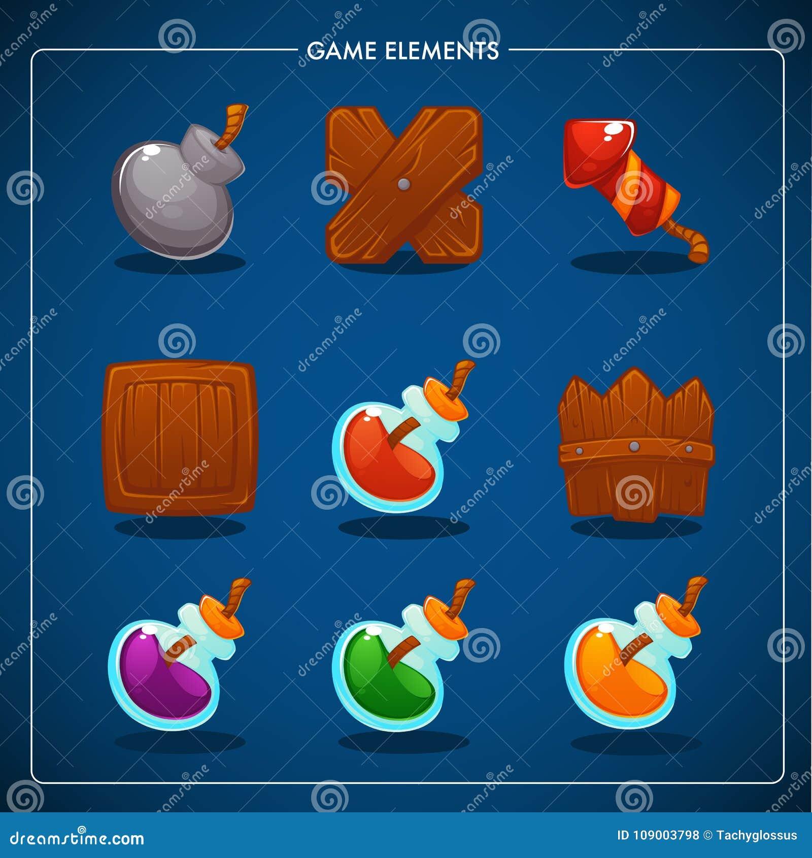 Dopasowywa 3 Mobilnej gry, gra przedmioty, napój miłosny, bomba, dynamit, pudełko,