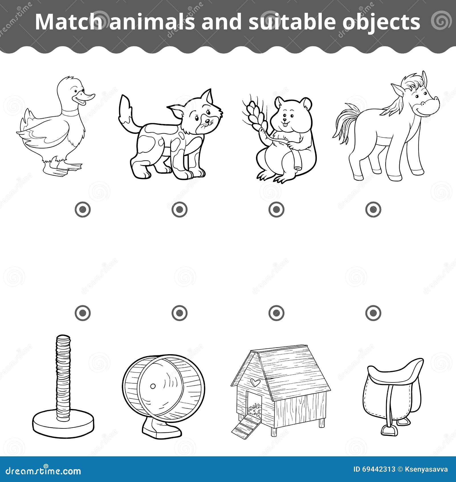 Dopasowywanie gra dla dzieci Zapałczani zwierzęta i stosowni przedmioty