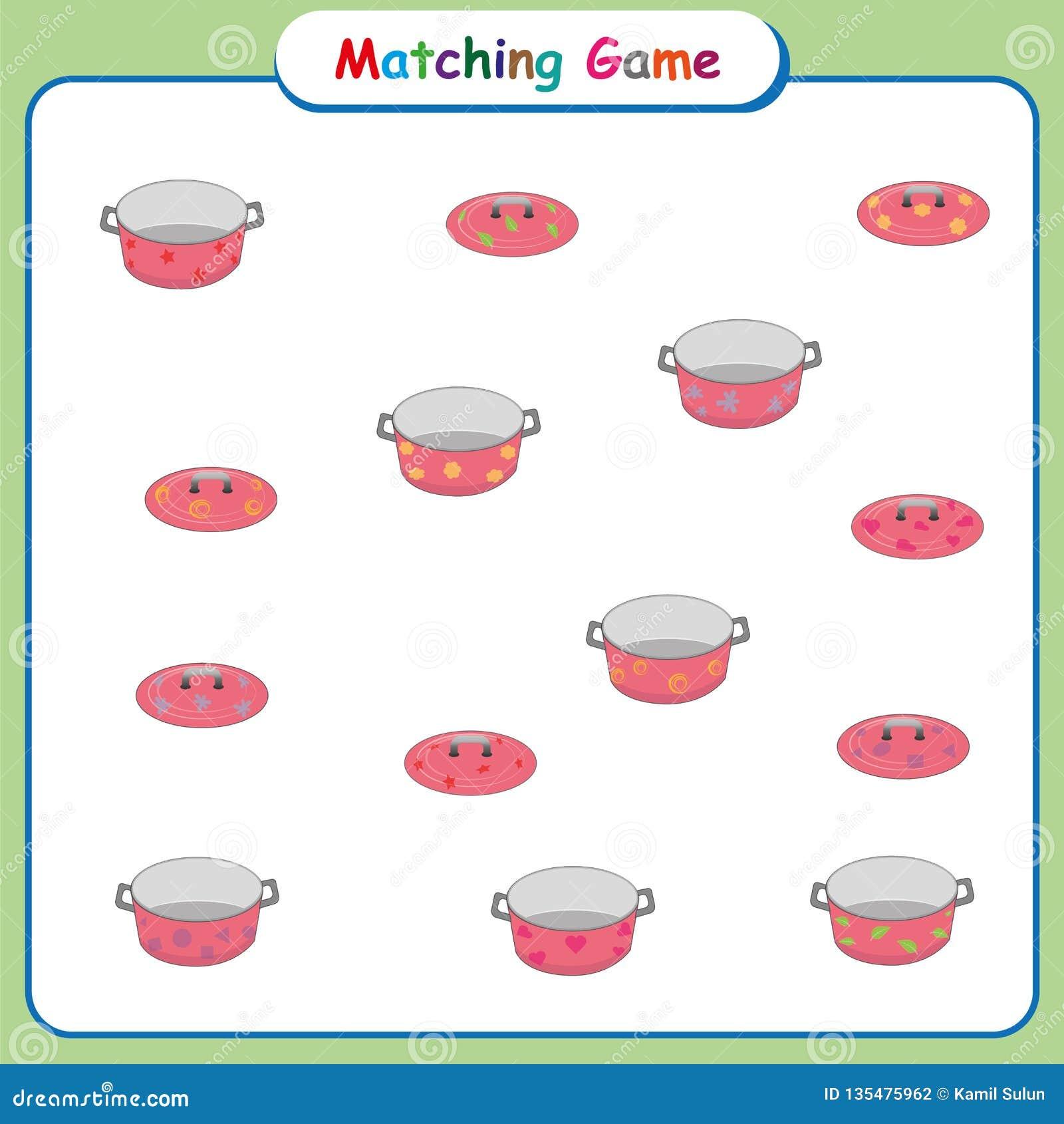 Dopasowywanie gra dla dzieciaków, worksheet dla preschool dzieci, edukacyjne aktywność