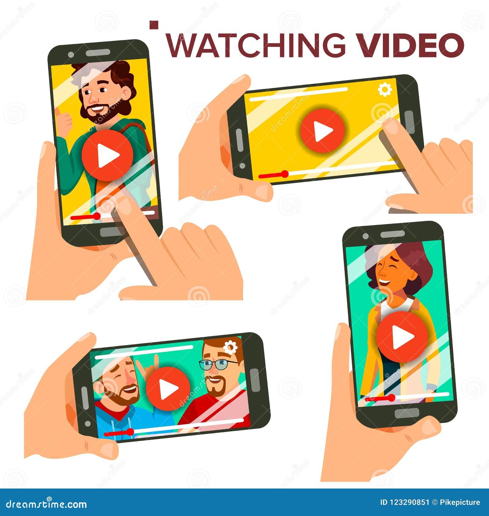 Dopatrywania wideo Na Smartphone wektorze Set Telefon komórkowy Czerwony sztuka symbolu guzik Wideo Media Player zastosowanie odo