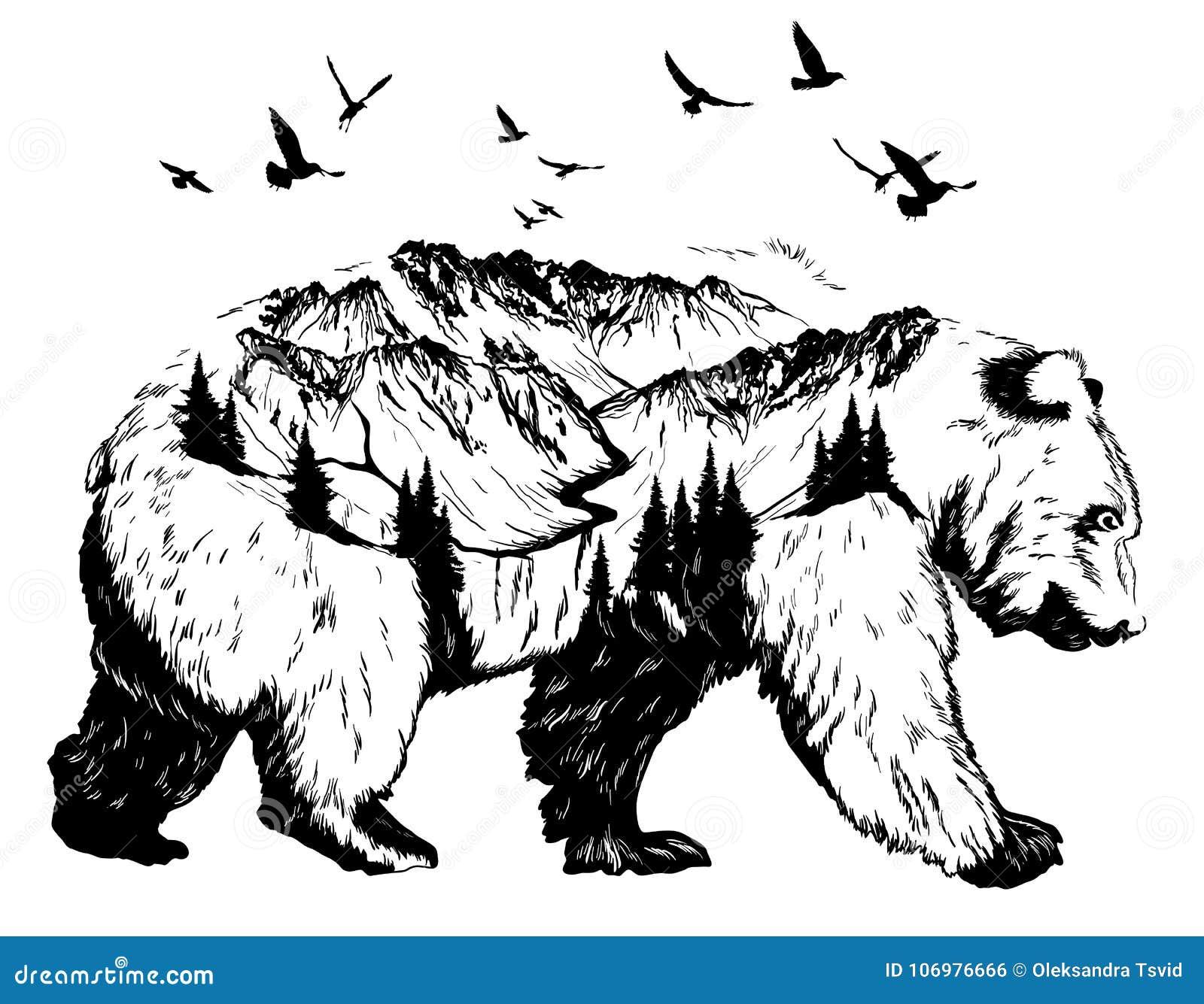 Doppelbelichtung, Bär und Berglandschaft