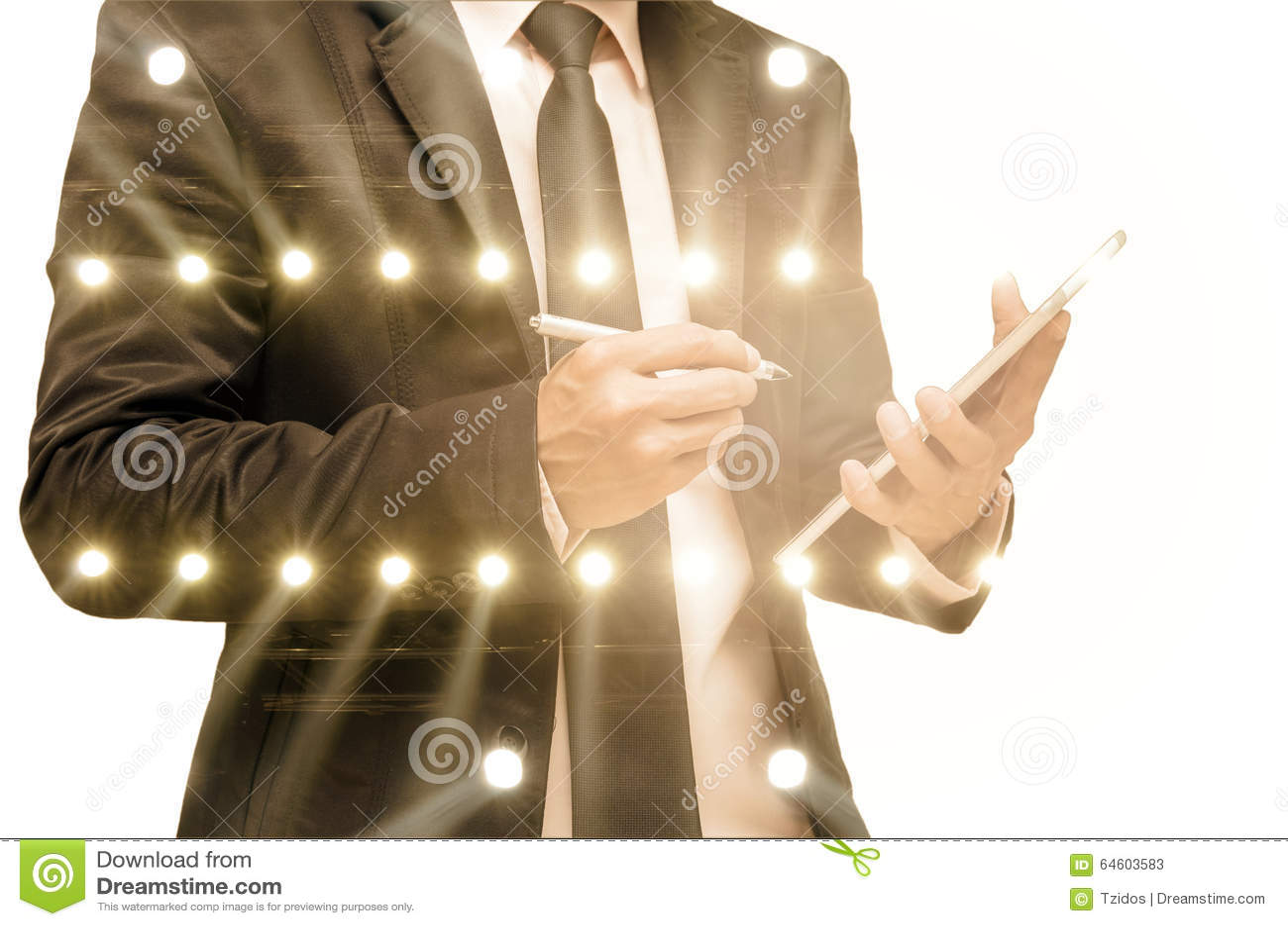 Doppelbelichtung des Geschäftsmannes mit Konzertbeleuchtung vom St.