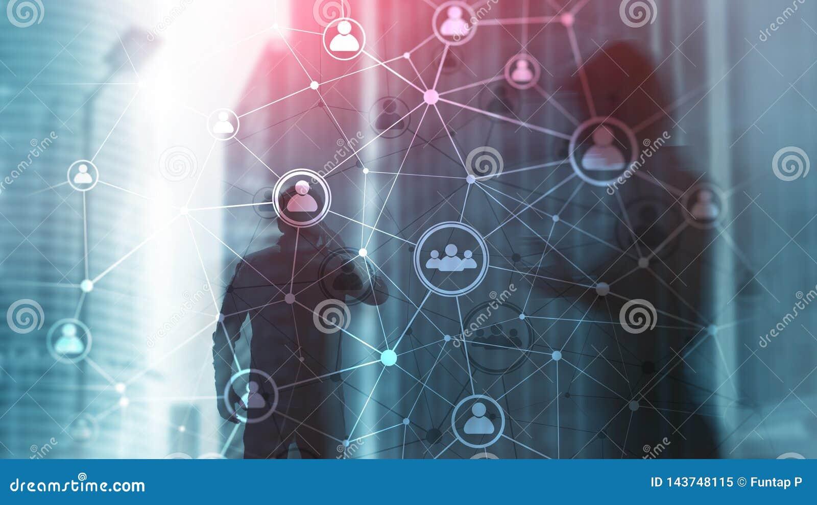 Doppelbelichtungsleute-Netzstruktur Stunde - Personalwesen Management und Einstellungskonzept