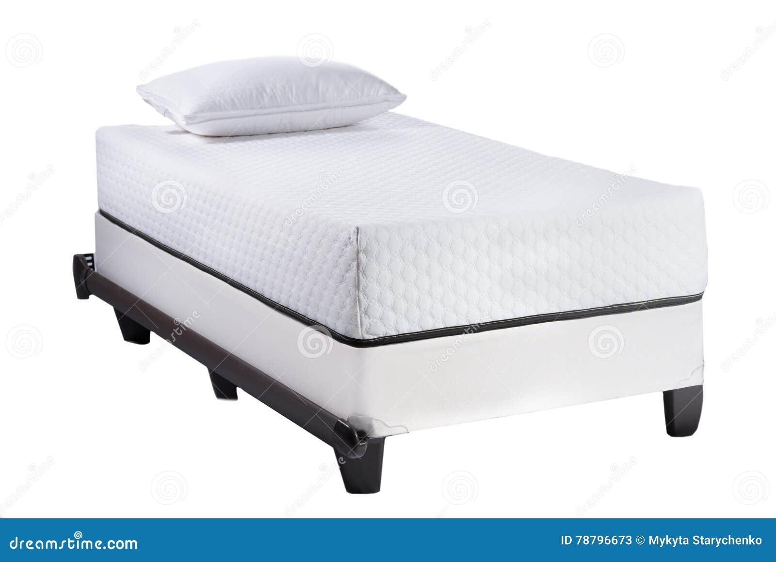 Doppelbettrahmen Mit Weicher Matratze Und Weißen Dem Kissen .