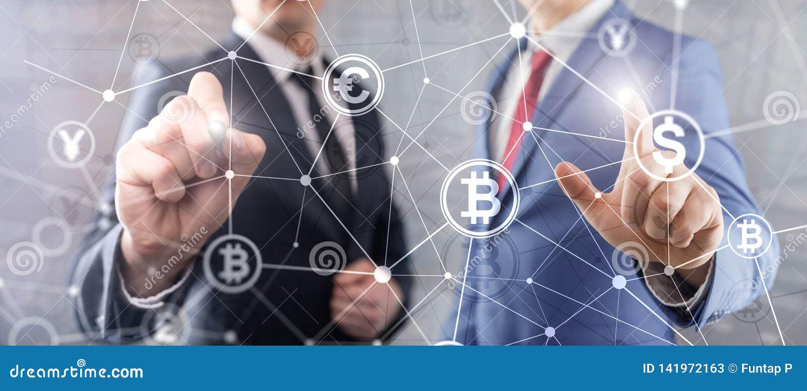 Doppia esposizione Bitcoin e concetto del blockchain Economia di Digital e commercio di valuta