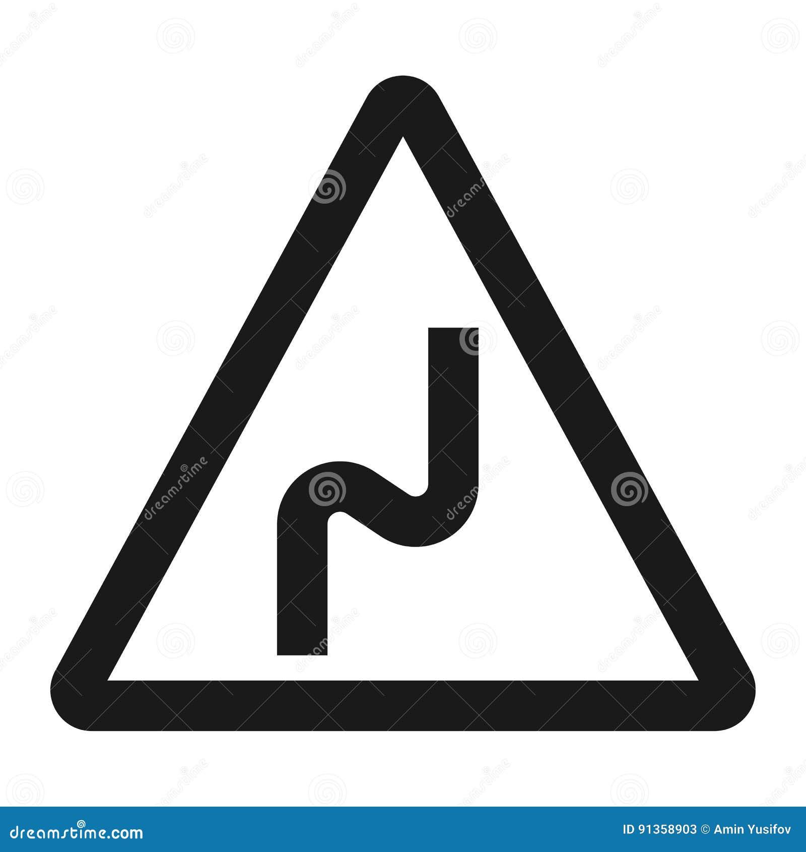Doppia linea pericolosa icona del segno della curvatura