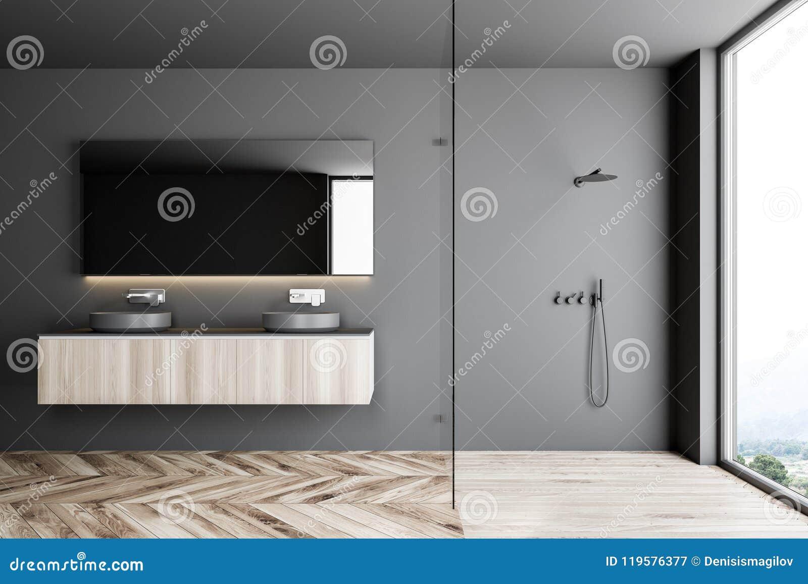 Doppio lavandino in un interno grigio del bagno doccia