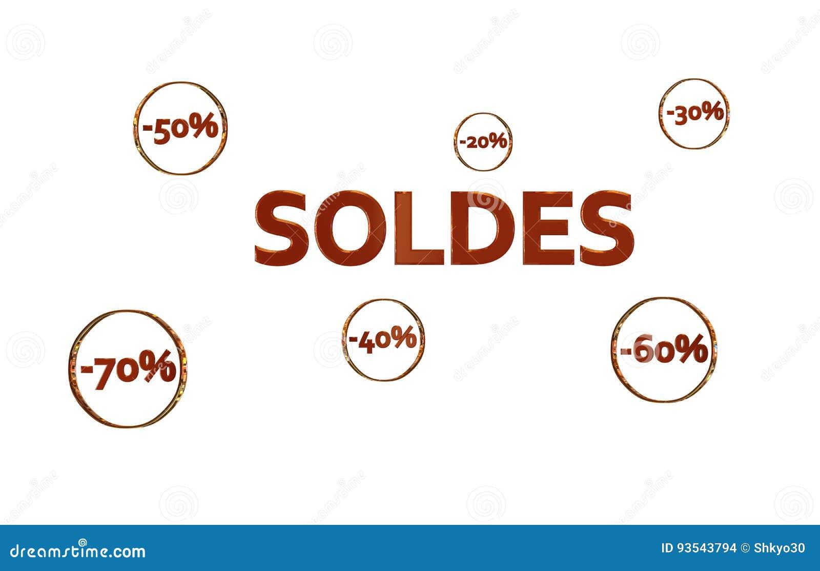 Dorés de cercles de DES de dans de réductions d avec de Logo Soldes Rouge