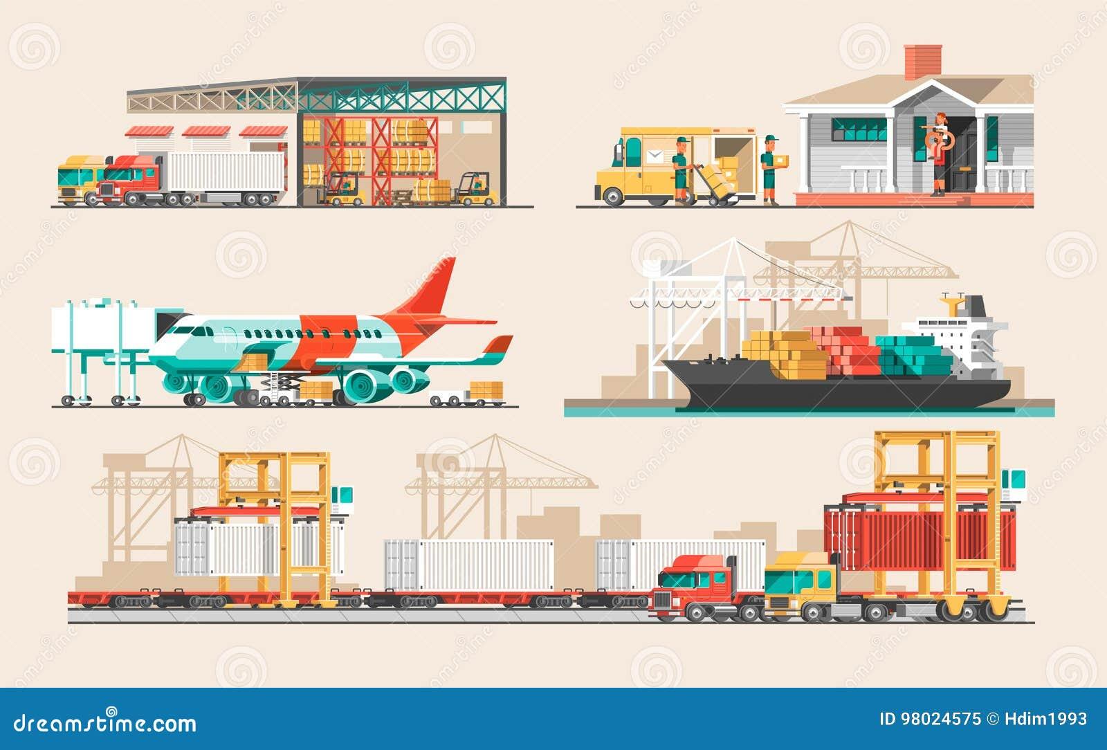 Doręczeniowej usługa pojęcie Zbiornika ładunku statku ładowanie, ciężarowy ładowacz, magazyn, samolot, pociąg