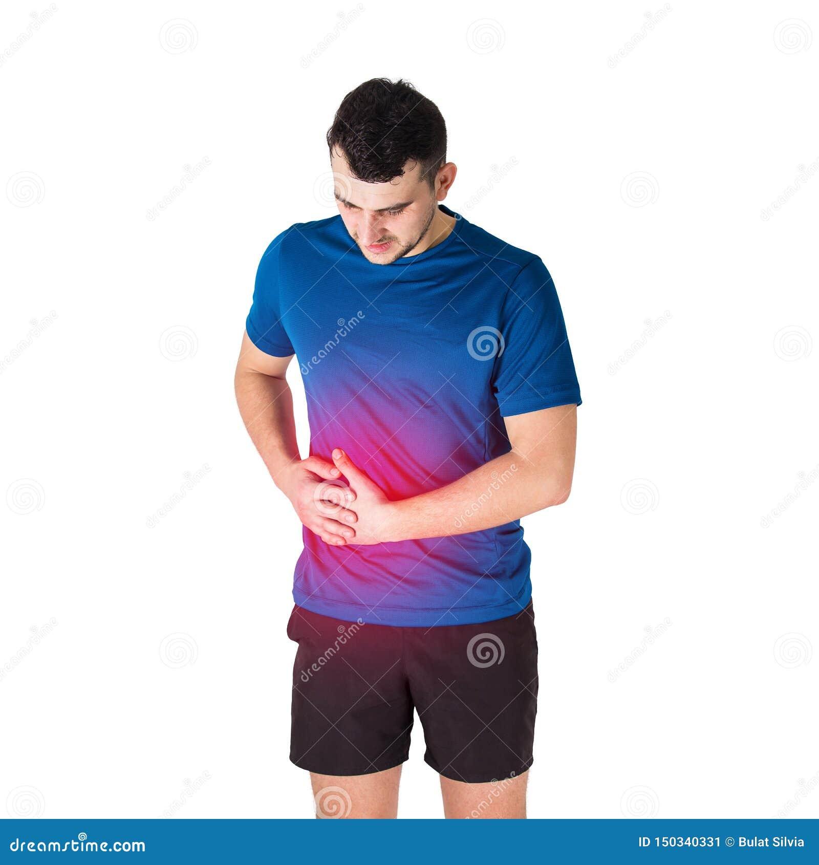 Dor de estômago caucasiano do sentimento do atleta do homem e ponto lateral Traumatismos do esporte, ferimento físico e conceito