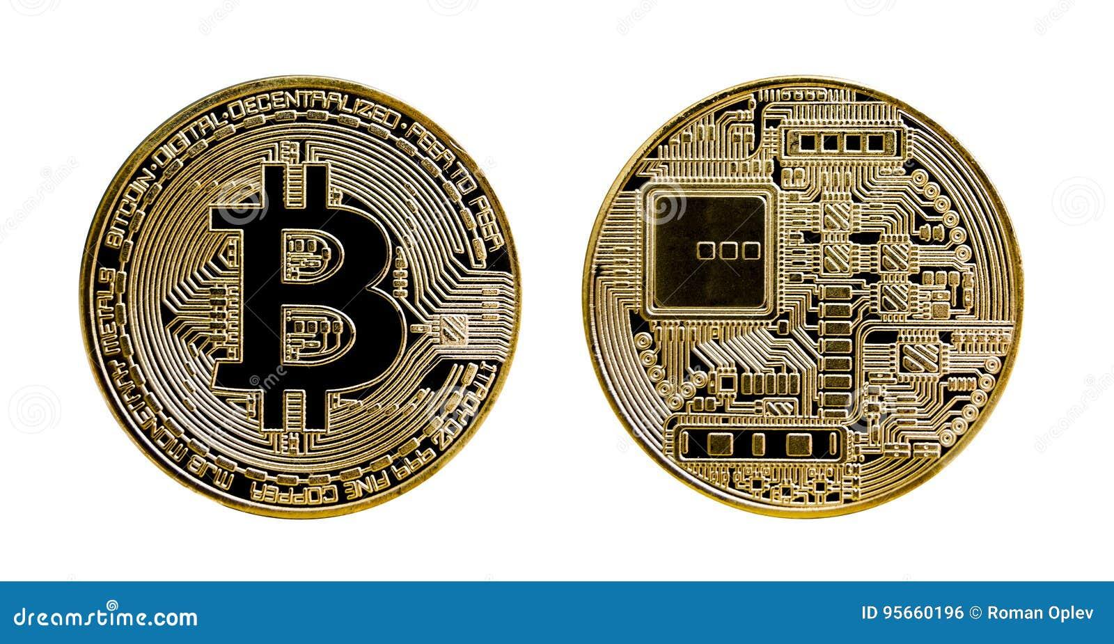 Dore la moneda del bitcoin aislada en el fondo blanco