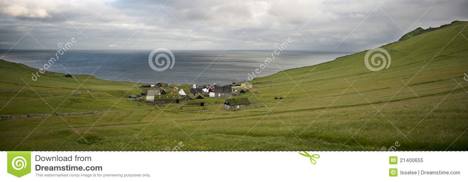 Dorf der Insel Mykines