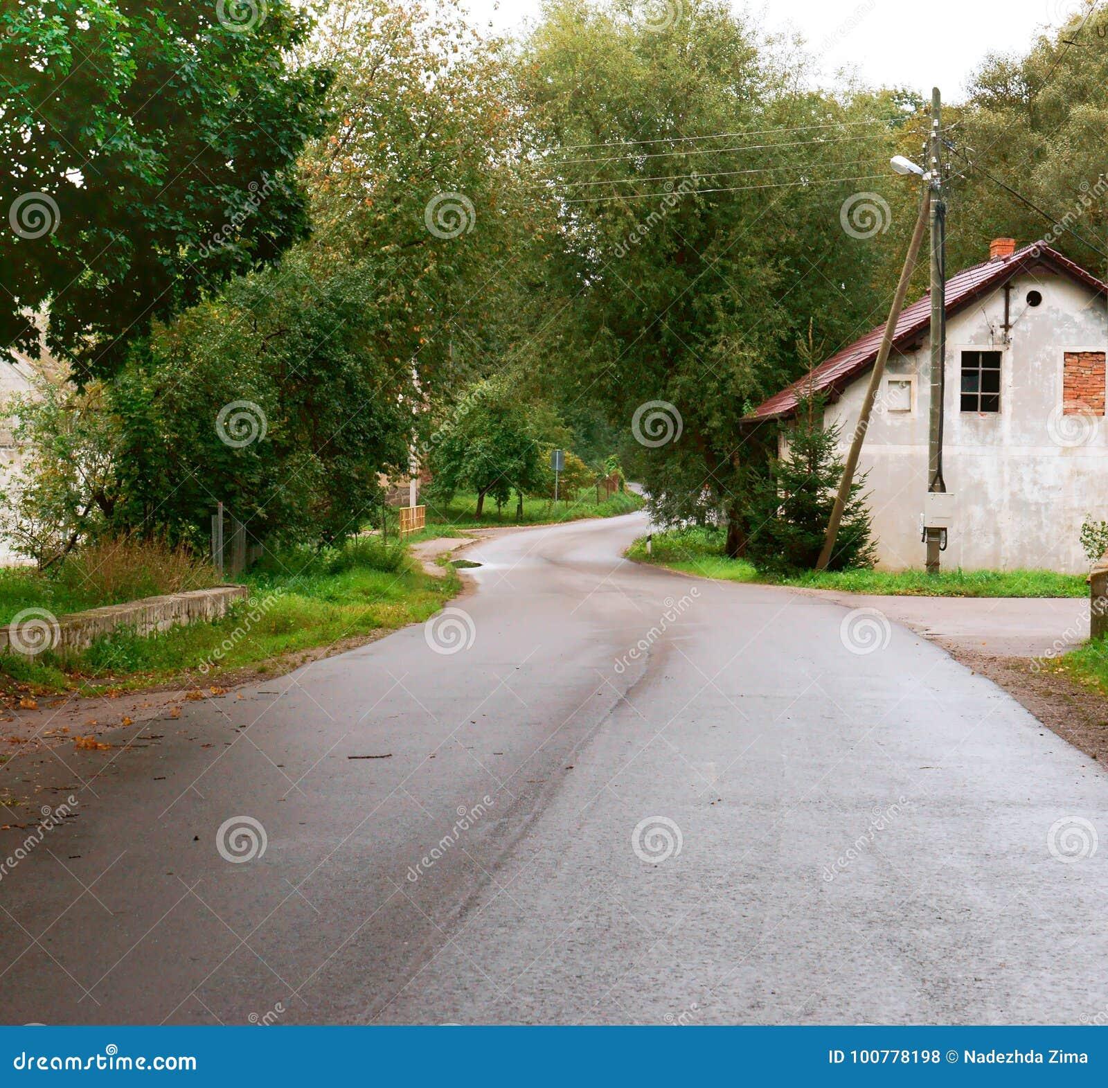 Dorf, Haus, Straße, ländlich, einzeln, alt, ländlich, zweitens